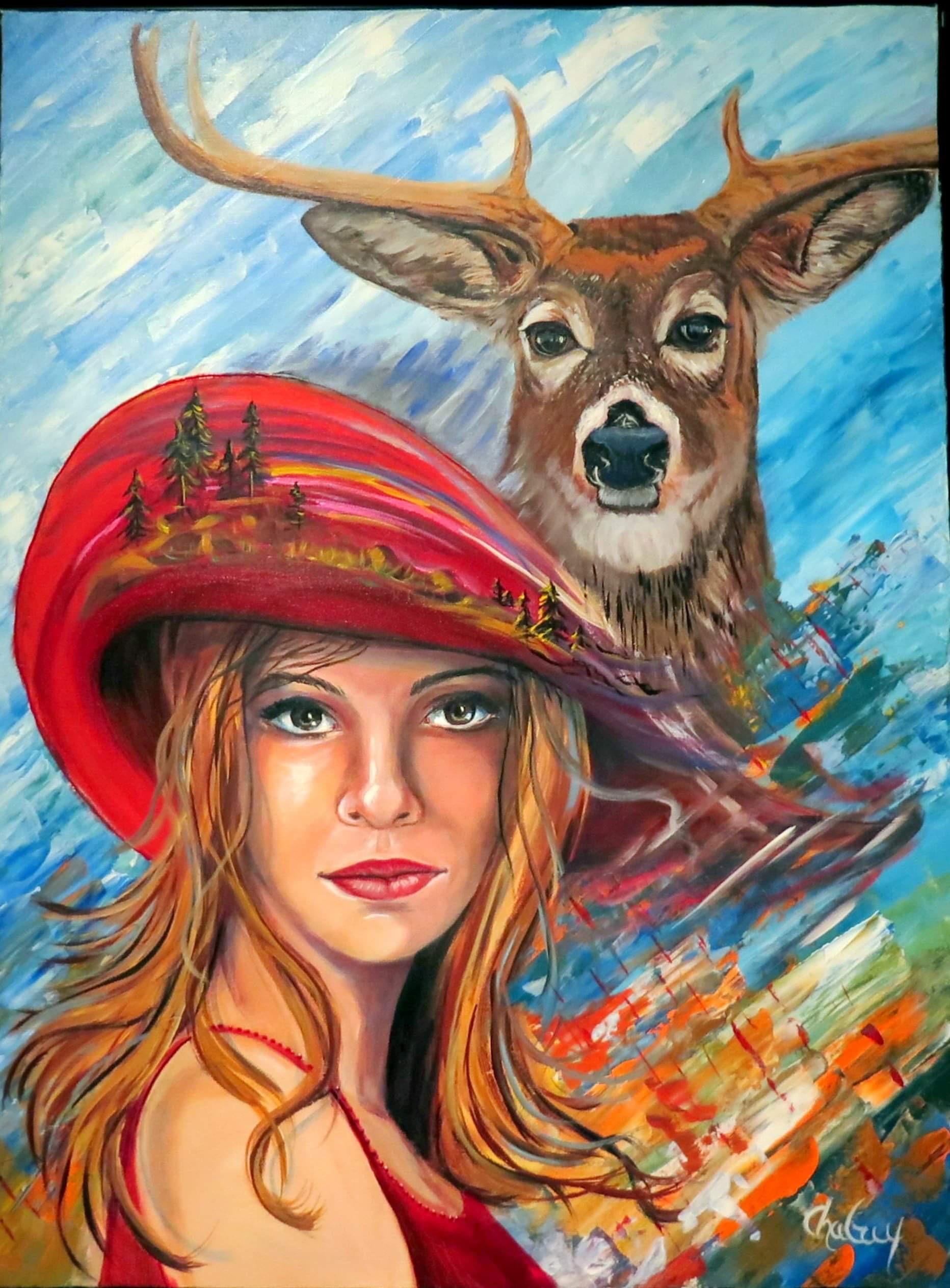 Je suis compassion, peinture de Chaguy (Chantale Guy)