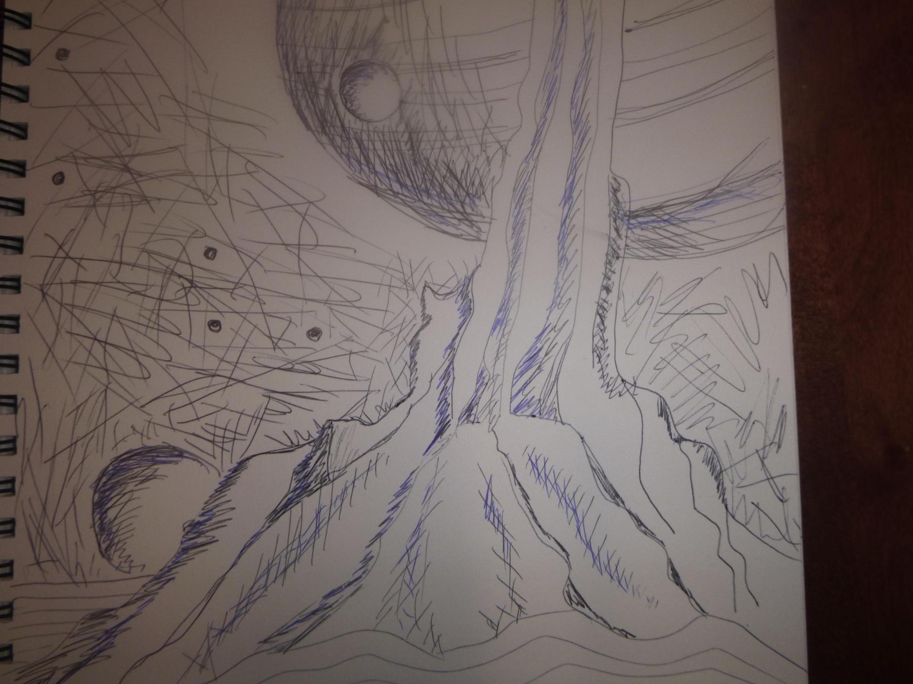 """<span style=""""color: #ff0000;""""><a style=""""color: #ff0000;"""" href=""""mailto:johorse.danielssen@gmail.com?subject=Défi 15 dessins 15 semaines - La Montagne de Sang"""">Contacter l'artiste</a></span> Daniel Joyal - La Montagne de Sang - 55$ (transaction directement avec l'artiste) - crayon à l'encre noir et bleu sur papier à dessin (Canson) - 12 x 9 po"""