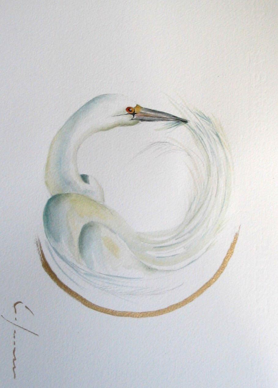"""<span style=""""color: #ff0000;""""><a style=""""color: #ff0000;"""" href=""""mailto:froy1956@gmail.com?subject=Défi 15 dessins 15 semaines - Beauté innée""""> Contacter l'artiste</a></span> Marie-France Roy - Beauté innée - 150$  (transaction directement avec l'artiste) - aquarelle, crayon pigment or sur carton aquarelle Fabriano - 12 x 9 po"""