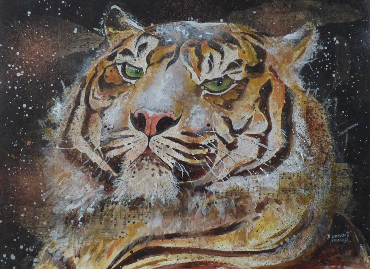 """<span style=""""color: #ff0000;""""><a style=""""color: #ff0000;"""" href=""""mailto:bdumontrenard@yahoo.com?subject=Défi 15 dessins 15 semaines - Tigre en hiver""""> Contacter l'artiste</a></span> B. Dumont Renard - Tigre en hiver - 160€  (transaction directement avec l'artiste) - gouache, encre, collage - 30 x 40 cm"""