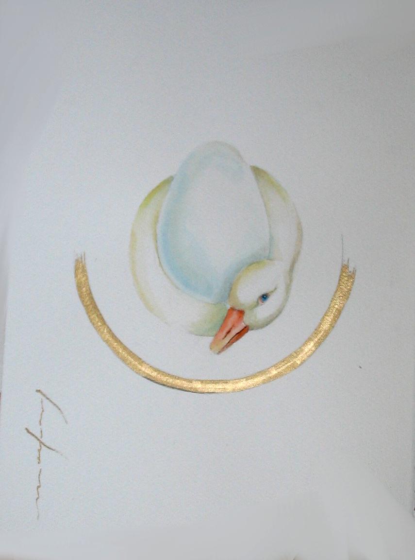 """<span style=""""color: #ff0000;""""><a style=""""color: #ff0000;"""" href=""""mailto:froy1956@gmail.com?subject=Défi 15 dessins 15 semaines - Naître et être""""> Contacter l'artiste</a></span> Marie-France Roy - Naître et être - 150$  (transaction directement avec l'artiste) - aquarelle, crayon pigment or sur carton aquarelle Fabriano - 12 x 9 po"""