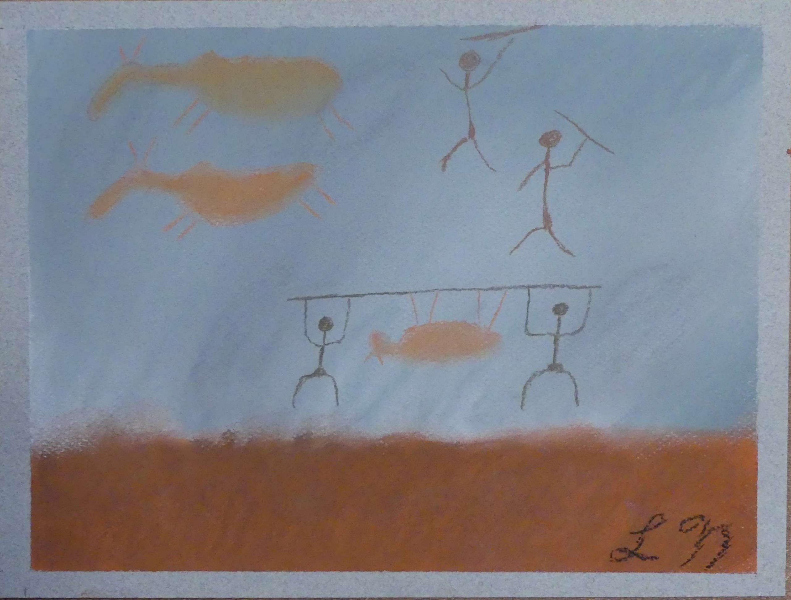 """<span style=""""color: #ff0000;""""><a style=""""color: #ff0000;"""" href=""""mailto:lucnadon7@gmail.com?subject=Défi 15 dessins 15 semaines - La chasse préhistorique""""> Contacter l'artiste</a></span> Luc Nadon - La chasse préhistorique 2021 - 50$  (transaction directement avec l'artiste) - Pastel sec sur papier pastel Strathmore 118g, encadrement mural - 9x12 po"""