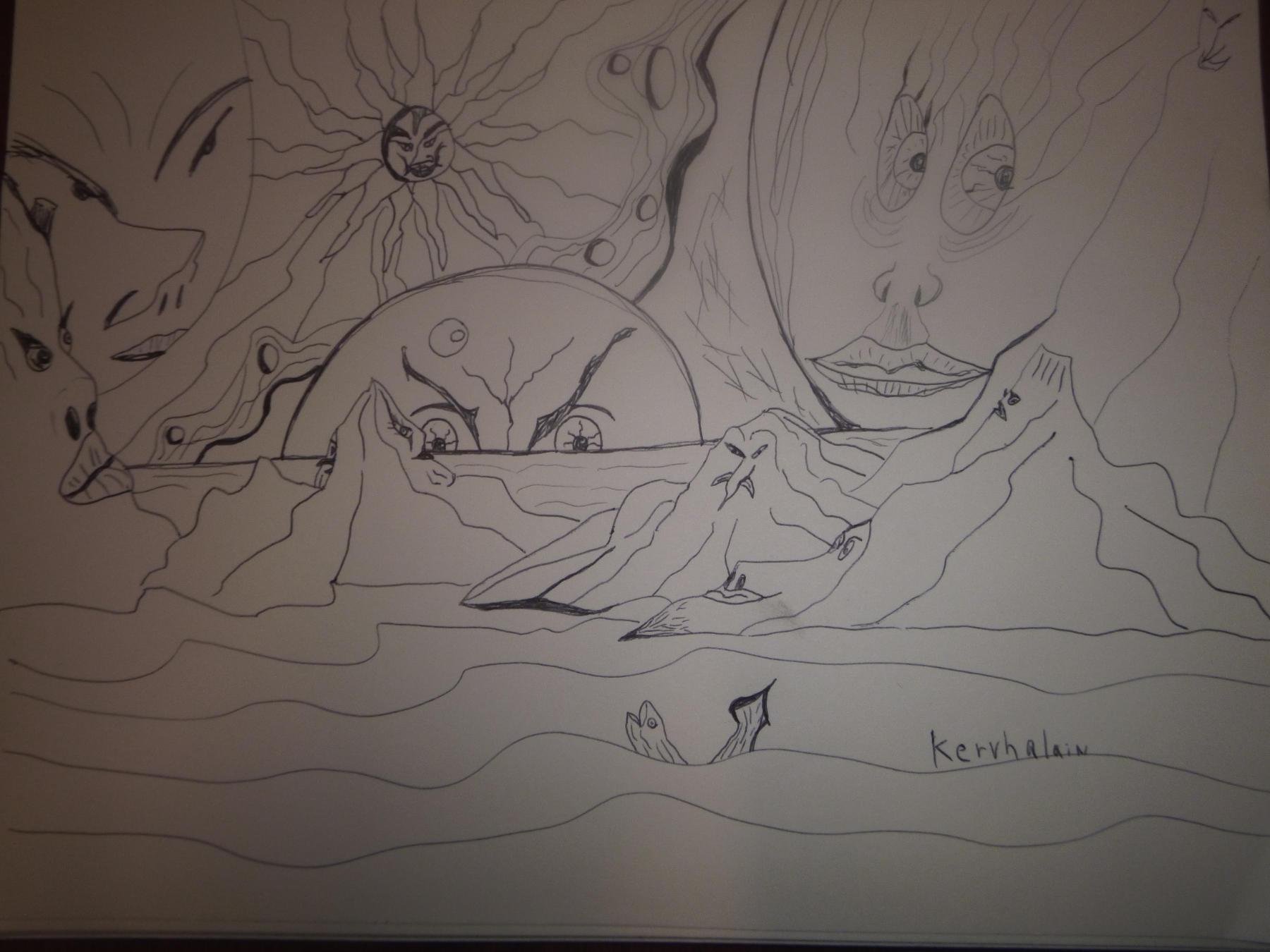 """<span style=""""color: #ff0000;""""><a style=""""color: #ff0000;"""" href=""""mailto:johorse.danielssen@gmail.com?subject=Défi 15 dessins 15 semaines - Visages Cosmiques"""">Contacter l'artiste</a></span> Daniel Joyal - Visages Cosmiques - 70$ (transaction directement avec l'artiste) - crayon à l'encre noir sur papier à dessin (Canson) - 9 x 12 po"""