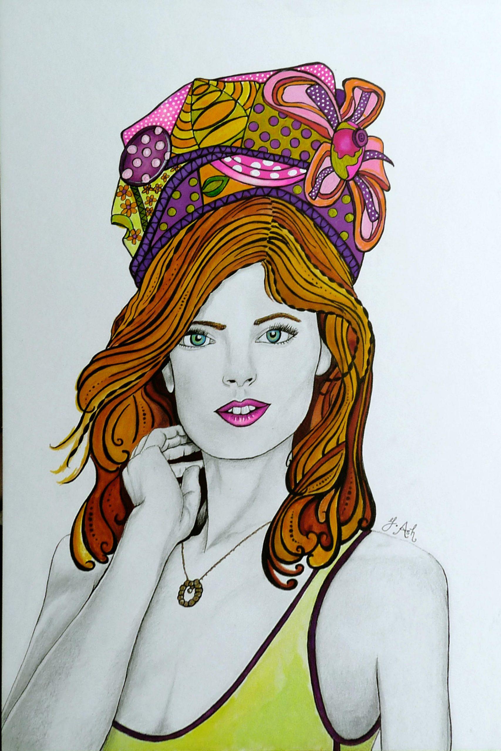 """<span style=""""color: #ff0000;""""><a style=""""color: #ff0000;"""" href=""""mailto:marie.laura@@videotron.ca?subject=Défi 15 dessins 15 semaines - La jeune fille au turban"""">Contacter l'artiste</a></span> Ginette Ash - La jeune fille au turban - 450 $ (transaction directement avec l'artiste) - techn. mixte (graphite, crayons de couleurs, feutre) sur papier - 15x10 po encadré"""