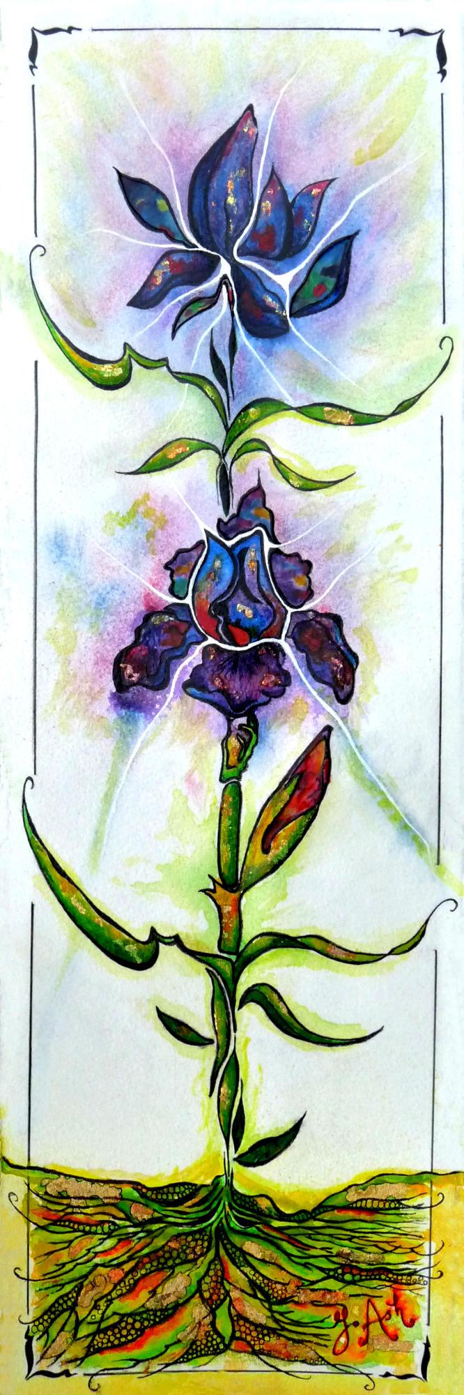 """<span style=""""color: #ff0000;""""><a style=""""color: #ff0000;"""" href=""""mailto:marie.laura@@videotron.ca?subject=Défi 15 dessins 15 semaines - Les iris bleus et mauves"""">Contacter l'artiste</a></span> Ginette Ash - Les iris bleus et mauves - 560 $ (transaction directement avec l'artiste) - techn. mixte sur papier Arches - 24x8 po encadré"""