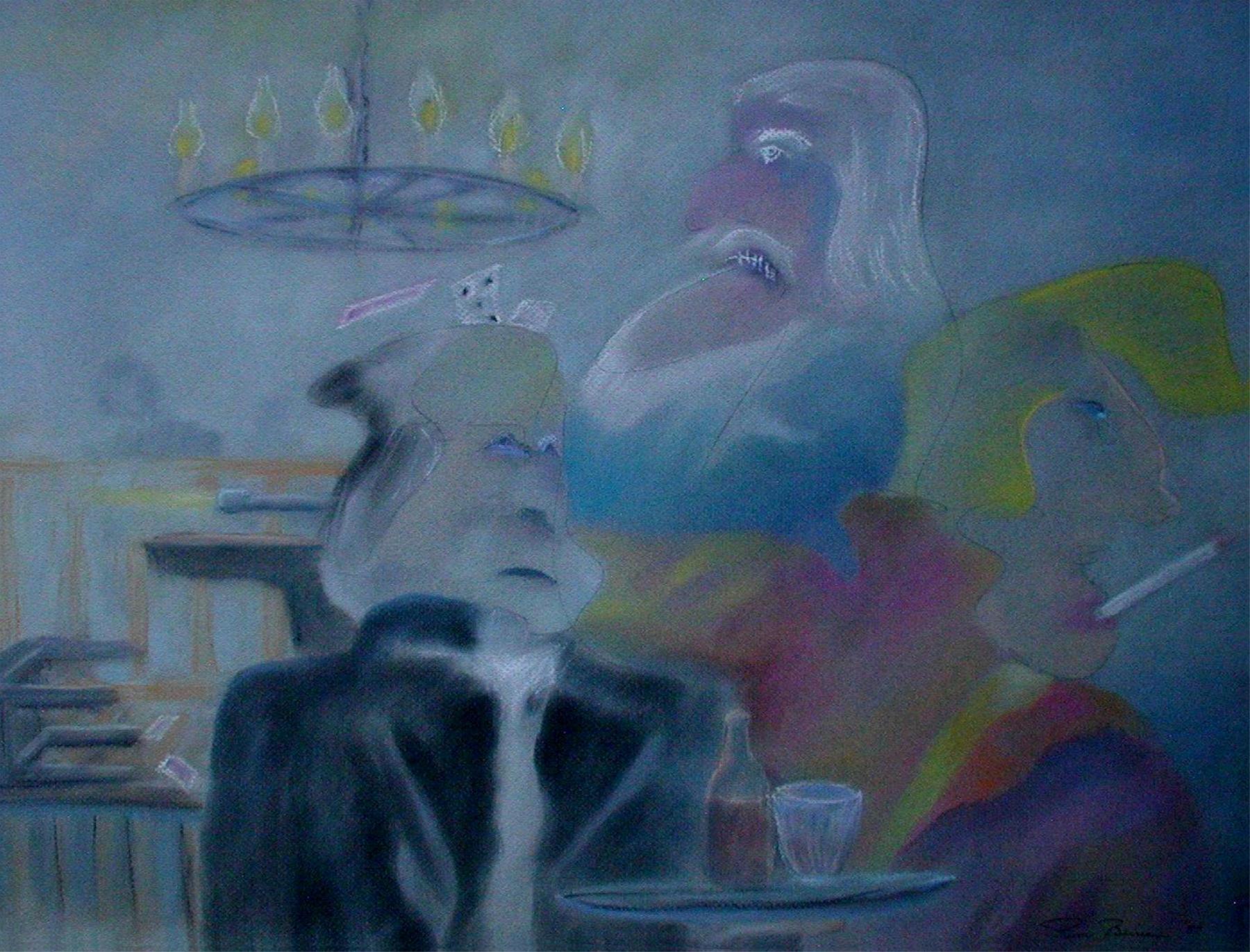 """<span style=""""color: #ff0000;""""><a style=""""color: #ff0000;"""" href=""""mailto:pbureau@hotmail.com?subject=Défi 15 dessins 15 semaines - Intrigue au saloon"""">Contacter l'artiste</a></span> Pierre Bureau - Intrigue au saloon - 255 $ (transaction directement avec l'artiste) - pastel sec sur papier Canson couleur - 46 x 58 cm"""