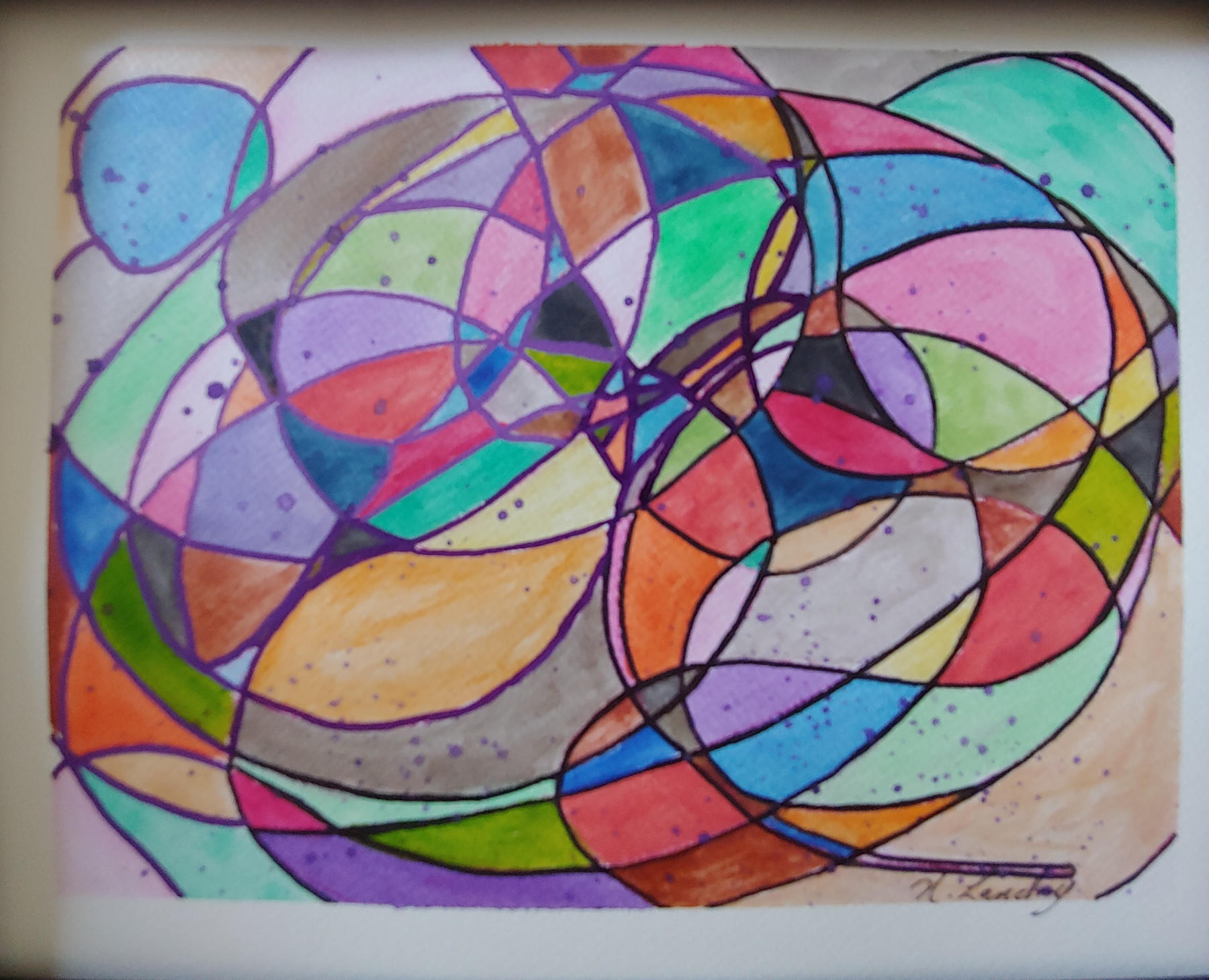 """<span style=""""color: #ff0000;""""><a style=""""color: #ff0000;"""" href=""""mailto:nathalielandry7@gmail.com?subject=Défi 15 dessins 15 semaines - Ma bulle""""> Contacter l'artiste</a></span> Nathalie Landry - Ma bulle - 75$  (transaction directement avec l'artiste) - aquarelle  et feutre sur papier aquarelle Fabriano 300g encadré -  9X12 po"""