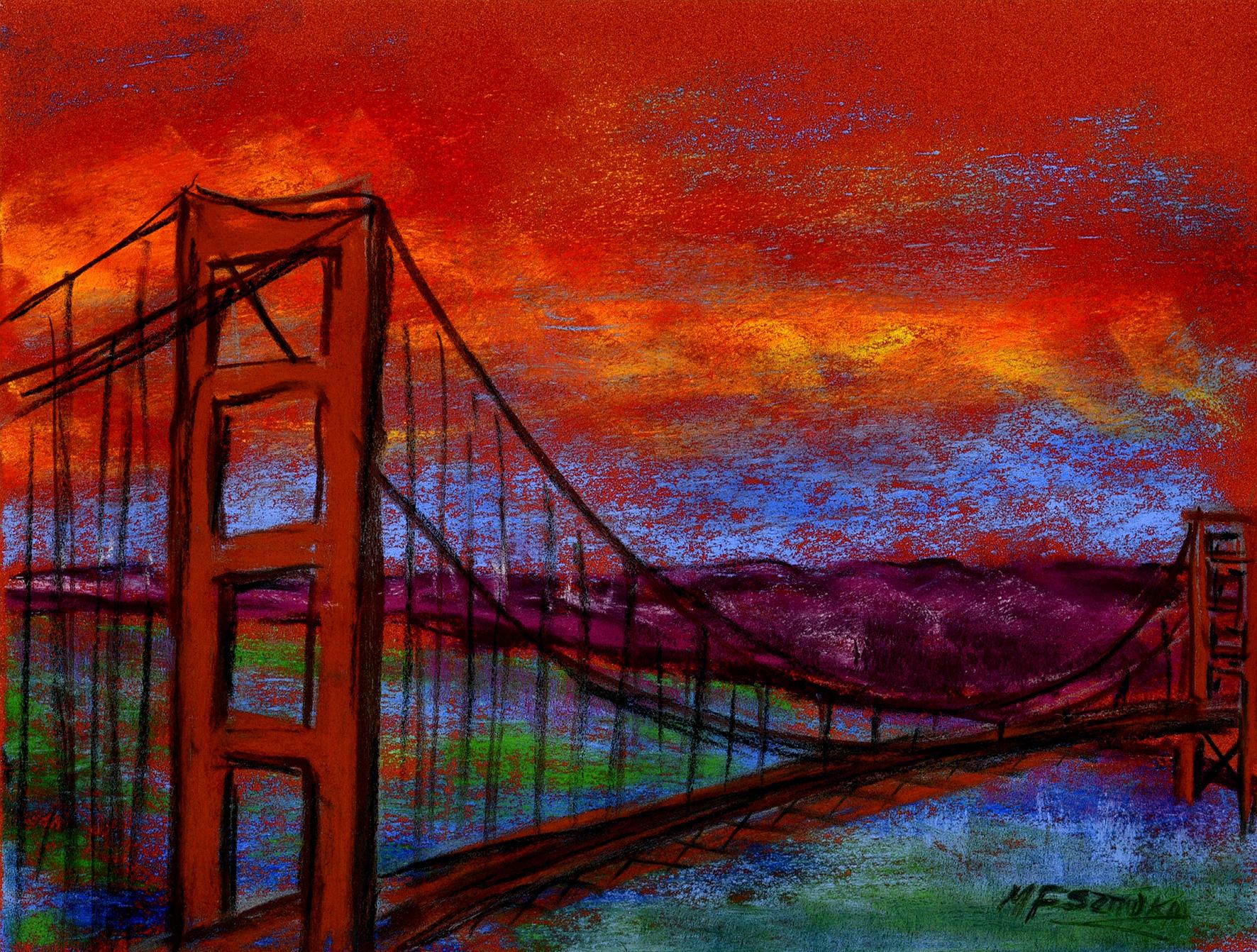 """<span style=""""color: #ff0000;""""><a style=""""color: #ff0000;"""" href=""""mailto:mfsztuka@orange.fr?subject=Défi 15 dessins 15 semaines - Golden Gate Bridge"""">Contacter l'artiste</a></span> Marie-Françoise Sztuka - Golden Gate Bridge - 40 euros (transaction directement avec l'artiste) - pastel sec sur pastel card - 25 x 33 cm"""