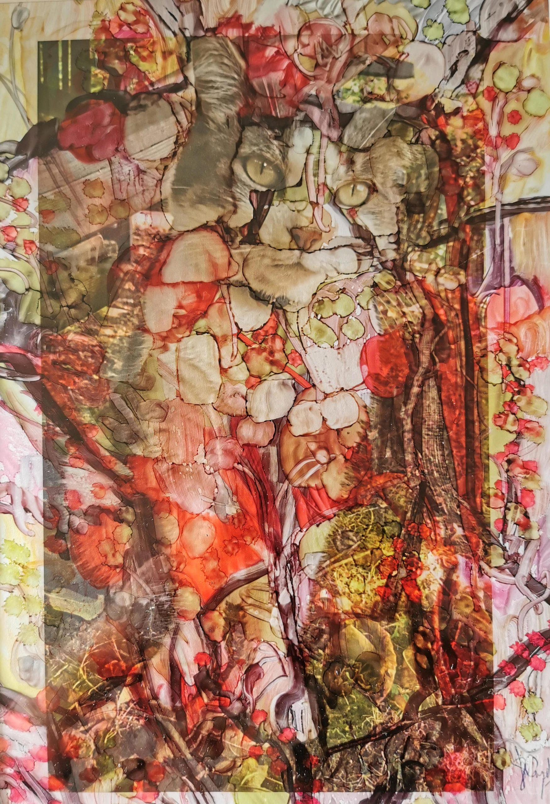"""<span style=""""color: #ff0000;""""><a style=""""color: #ff0000;"""" href=""""mailto:muriel.cayet@gmail.com?subject=Défi 15 dessins 15 semaines - Gala des fleurs""""> Contacter l'artiste</a></span> Muriel Cayet - Gala des fleurs - 80€  (transaction directement avec l'artiste) - tech. mixte sur chemise plastique avec photo - format A4 - Sous passe-partout 40 x 30 cm noir"""