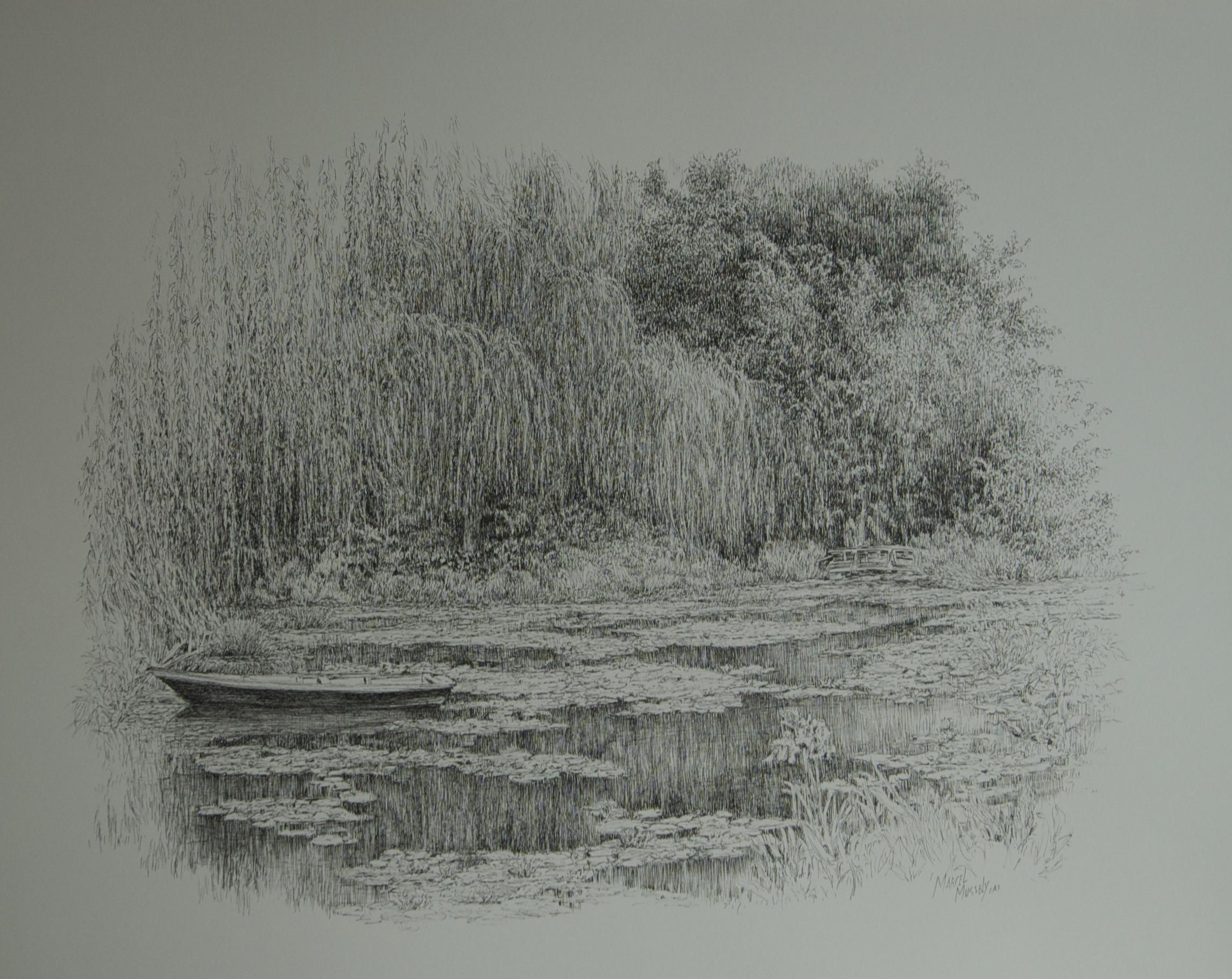 """<span style=""""color: #ff0000;""""><a style=""""color: #ff0000;"""" href=""""mailto:mussely@sympatico.ca?subject=Défi 15 dessins 15 semaines - Le jardin d'eau de Monet à Giverny, France"""">Contacter l'artiste</a></span> Marcel Mussely - Le jardin d'eau de Monet à Giverny, France - 950 $ (transaction directement avec l'artiste) - Encre sur papier aquarelle - 18x24 po"""