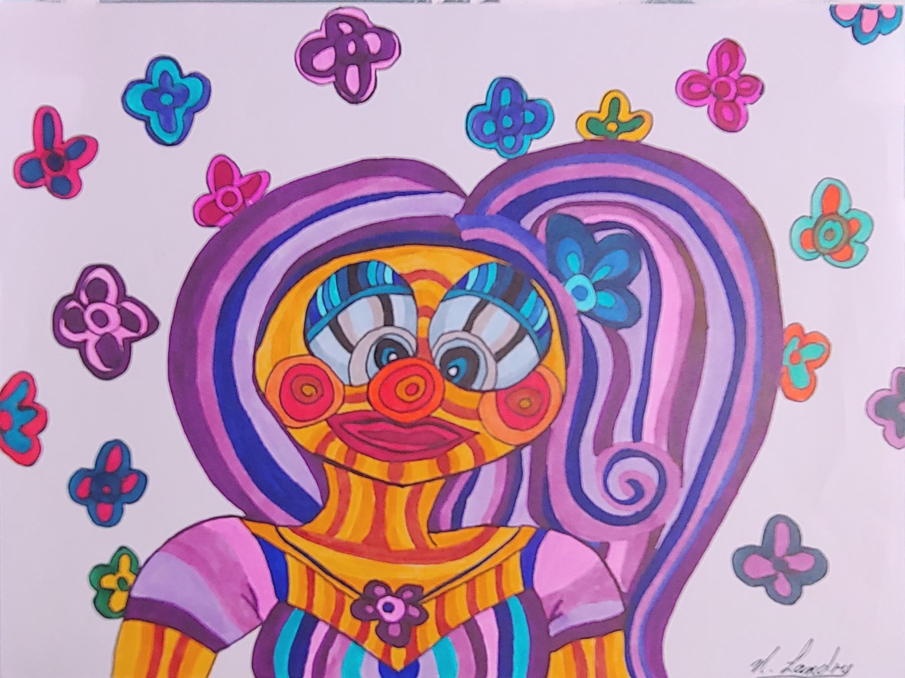 """<span style=""""color: #ff0000;""""><a style=""""color: #ff0000;"""" href=""""mailto:nathalielandry7@gmail.com?subject=Défi 15 dessins 15 semaines - Pitchounette""""> Contacter l'artiste</a></span> Nathalie Landry - Pitchounette - 75$  (transaction directement avec l'artiste) - Feutre sur papier Canson  encadrement mural -  9X12 po"""