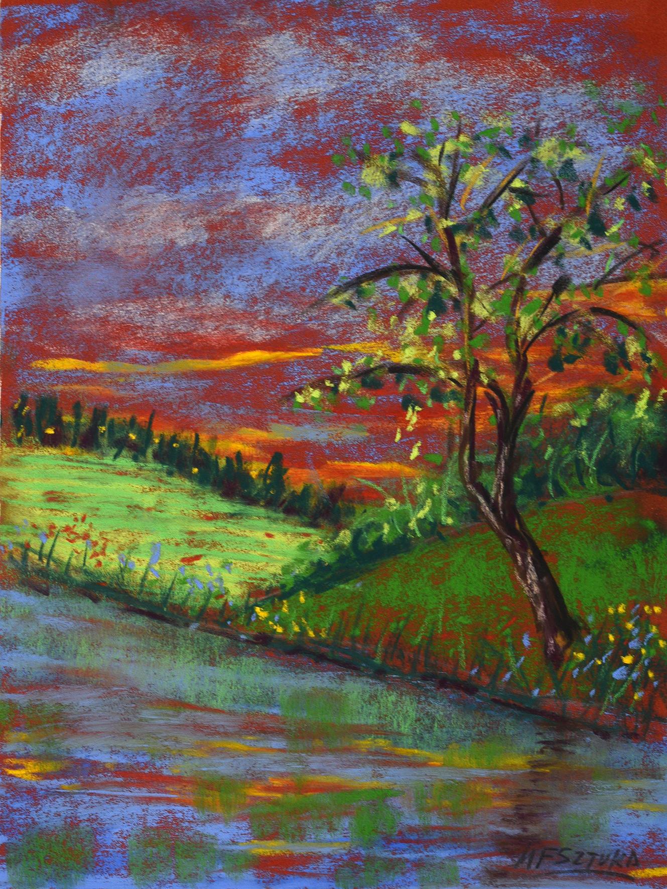 """<span style=""""color: #ff0000;""""><a style=""""color: #ff0000;"""" href=""""mailto:mfsztuka@orange.fr?subject=Défi 15 dessins 15 semaines - Au bord de l'eau"""">Contacter l'artiste</a></span> Marie-Françoise Sztuka - Au bord de l'eau - 40 euros (transaction directement avec l'artiste) - pastels secs sur papier cartonné - 33 x 25 cm"""