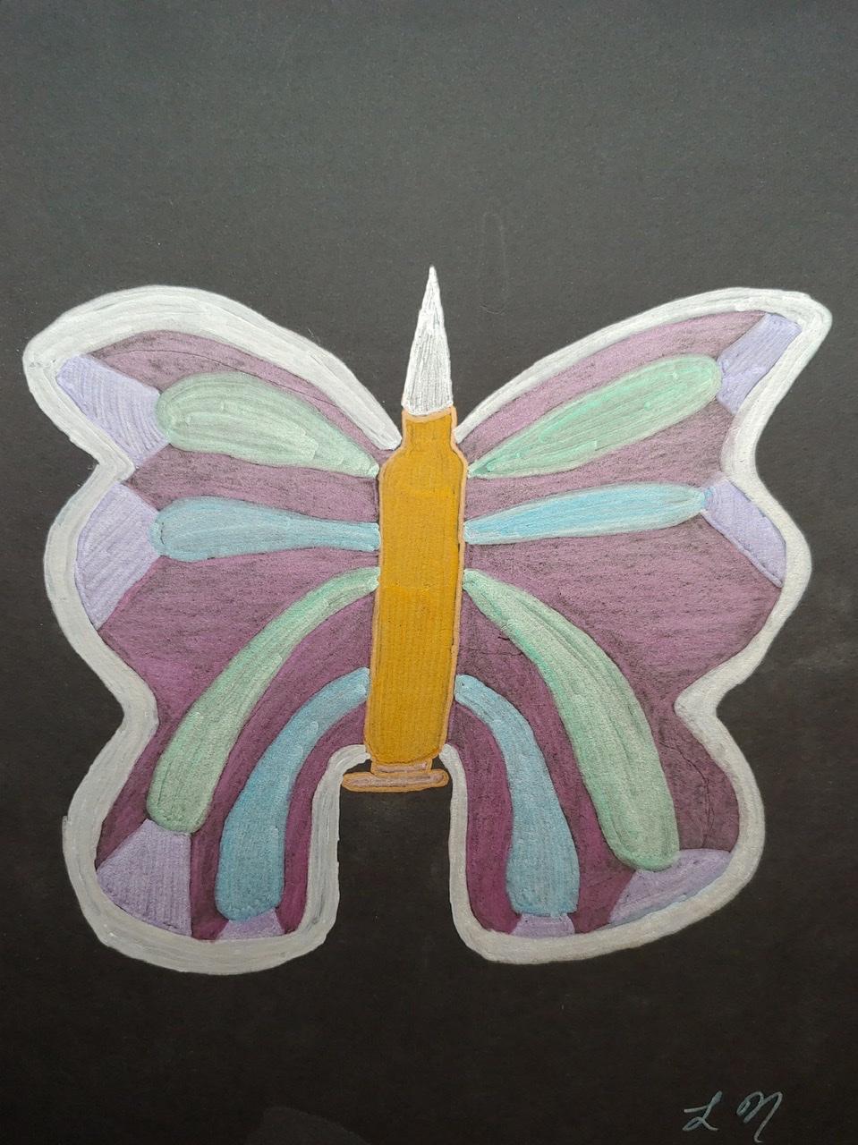 """<span style=""""color: #ff0000;""""><a style=""""color: #ff0000;"""" href=""""mailto:lucnadon7@gmail.com?subject=Défi 15 dessins 15 semaines -   Bullet with butterfly wing""""> Contacter l'artiste</a></span> Luc Nadon -   Bullet with butterfly wing - 35$  (transaction directement avec l'artiste), marqueur et crayon sur papier artagain noir Strathmore 160g, 12x9 po encadré"""