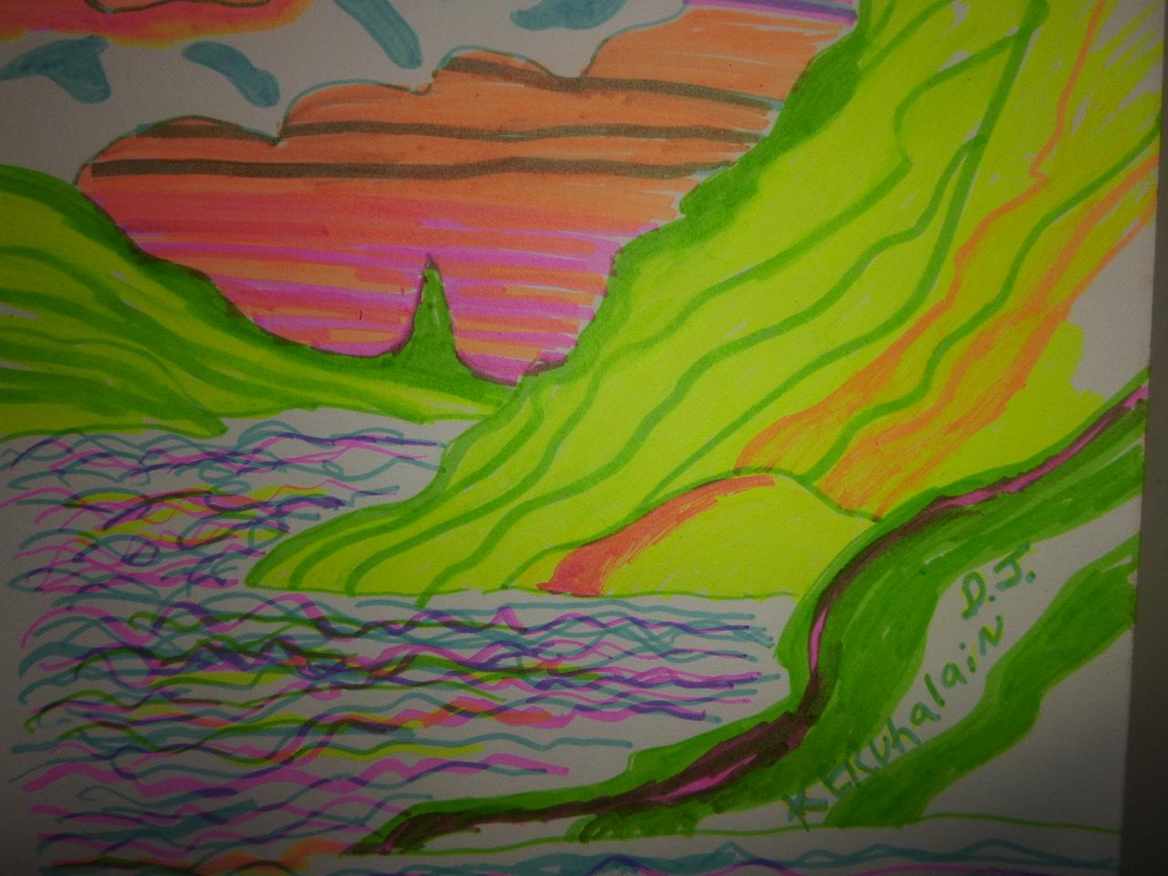 """<span style=""""color: #ff0000;""""><a style=""""color: #ff0000;"""" href=""""mailto:johorse.danielssen@gmail.com?subject=Défi 15 dessins 15 semaines - Paysage de l'Irréel"""">Contacter l'artiste</a></span> Daniel Joyal - Paysage de l'Irréel - 75$ (transaction directement avec l'artiste) - Marqueur sur papier Canson - 9 x 12 po"""