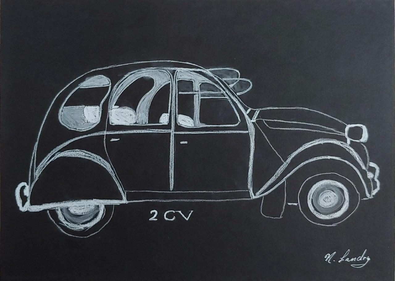 """<span style=""""color: #ff0000;""""><a style=""""color: #ff0000;"""" href=""""mailto:nathalielandry7@gmail.com?subject=Défi 15 dessins 15 semaines - Ma 2 CV""""> Contacter l'artiste</a></span> Nathalie Landry - Ma 2 CV - 50$  (transaction directement avec l'artiste) - Crayon pastel blanc sur papier noir Strathmore 160g -  9x12 po encadré"""