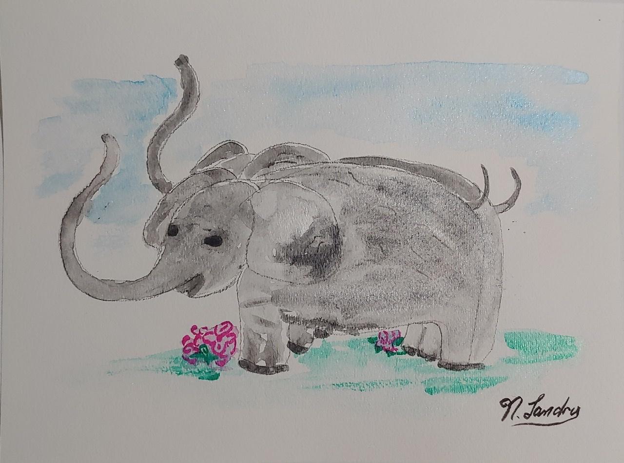 """<span style=""""color: #ff0000;""""><a style=""""color: #ff0000;"""" href=""""mailto:nathalielandry7@gmail.com?subject=Défi 15 dessins 15 semaines - Les éléphants""""> Contacter l'artiste</a></span> Nathalie Landry - Les éléphants - 55$  (transaction directement avec l'artiste) - aquarelle sur papier Fabriano 25% coton à grain fin -  9x12 po encadré"""