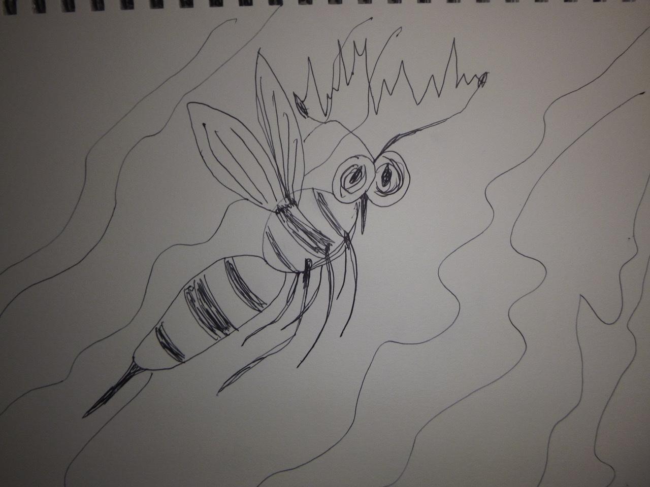 """<span style=""""color: #ff0000;""""><a style=""""color: #ff0000;"""" href=""""mailto:johorse.danielssen@gmail.com?subject=Défi 15 dessins 15 semaines -  Pesticide"""">Contacter l'artiste</a></span> Daniel Joyal -  Pesticide - 75$ (transaction directement avec l'artiste) - stylo bille sur papier Canson - 9 x 12 po"""
