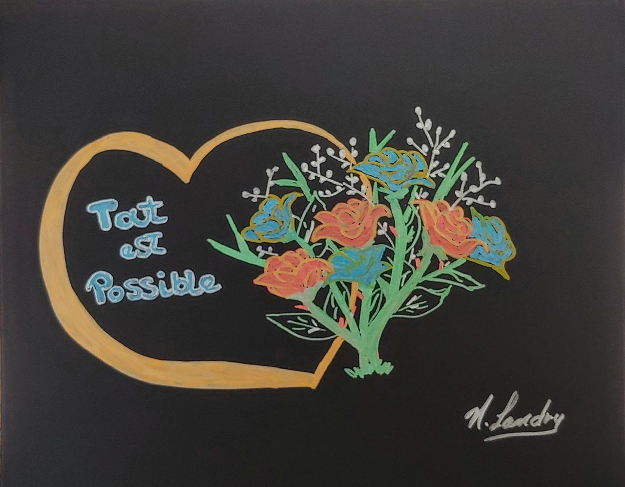 """<span style=""""color: #ff0000;""""><a style=""""color: #ff0000;"""" href=""""mailto:nathalielandry7@gmail.com?subject=Défi 15 dessins 15 semaines - Je t'offre des fleurs""""> Contacter l'artiste</a></span> Nathalie Landry - Je t'offre des fleurs - 35$  (transaction directement avec l'artiste) - feutre métallique sur papier noir Fabriano, 8 x 10 po encadré"""