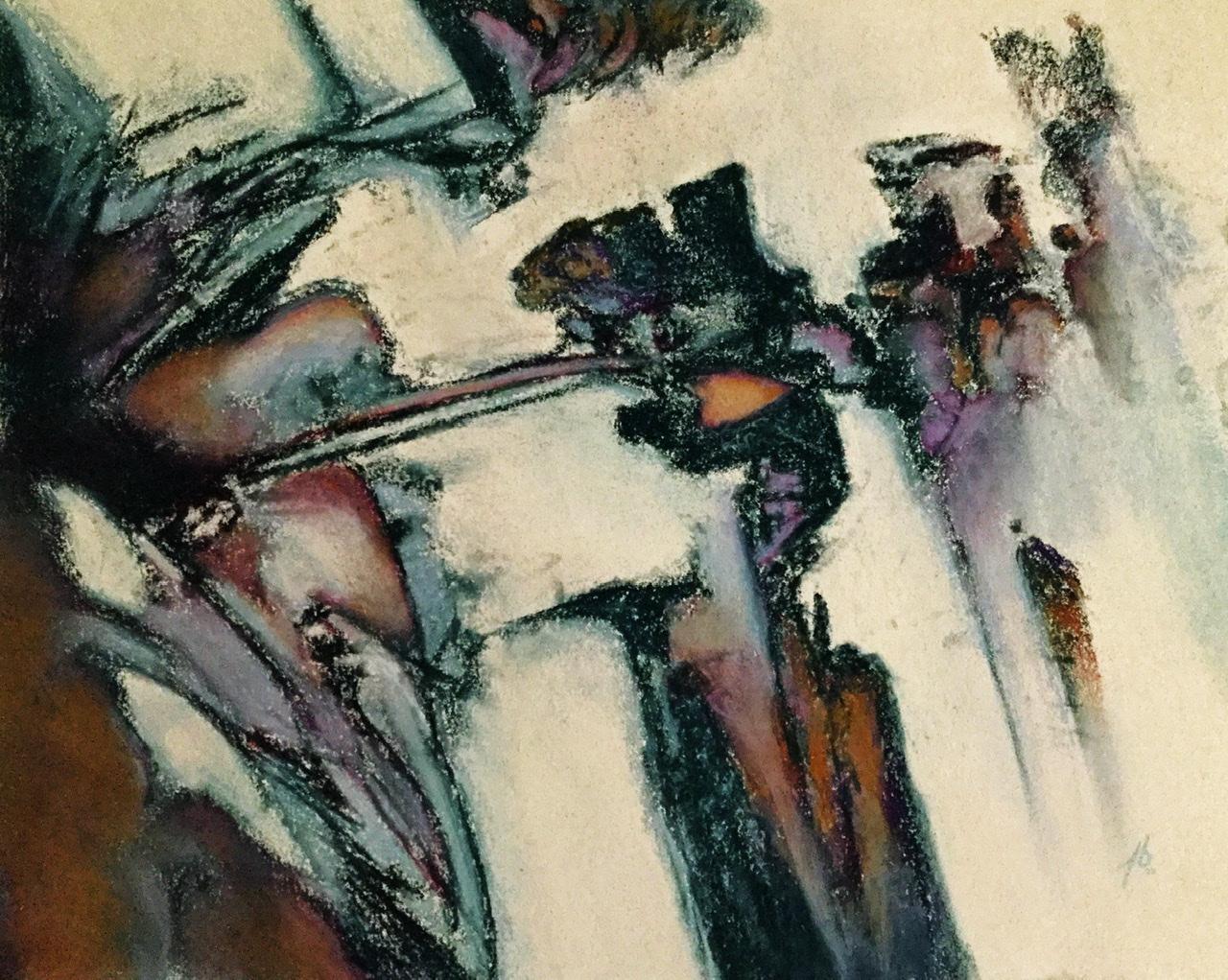 """<span style=""""color: #ff0000;""""><a style=""""color: #ff0000;"""" href=""""mailto:pbureau@hotmail.com?subject=Défi 15 dessins 15 semaines -   Suspension"""">Contacter l'artiste</a></span> Pierre Bureau -   Suspension - 275 $ (transaction directement avec l'artiste) - pastel sec sur papier-coton BFK Rives - 31 x 39 cm"""