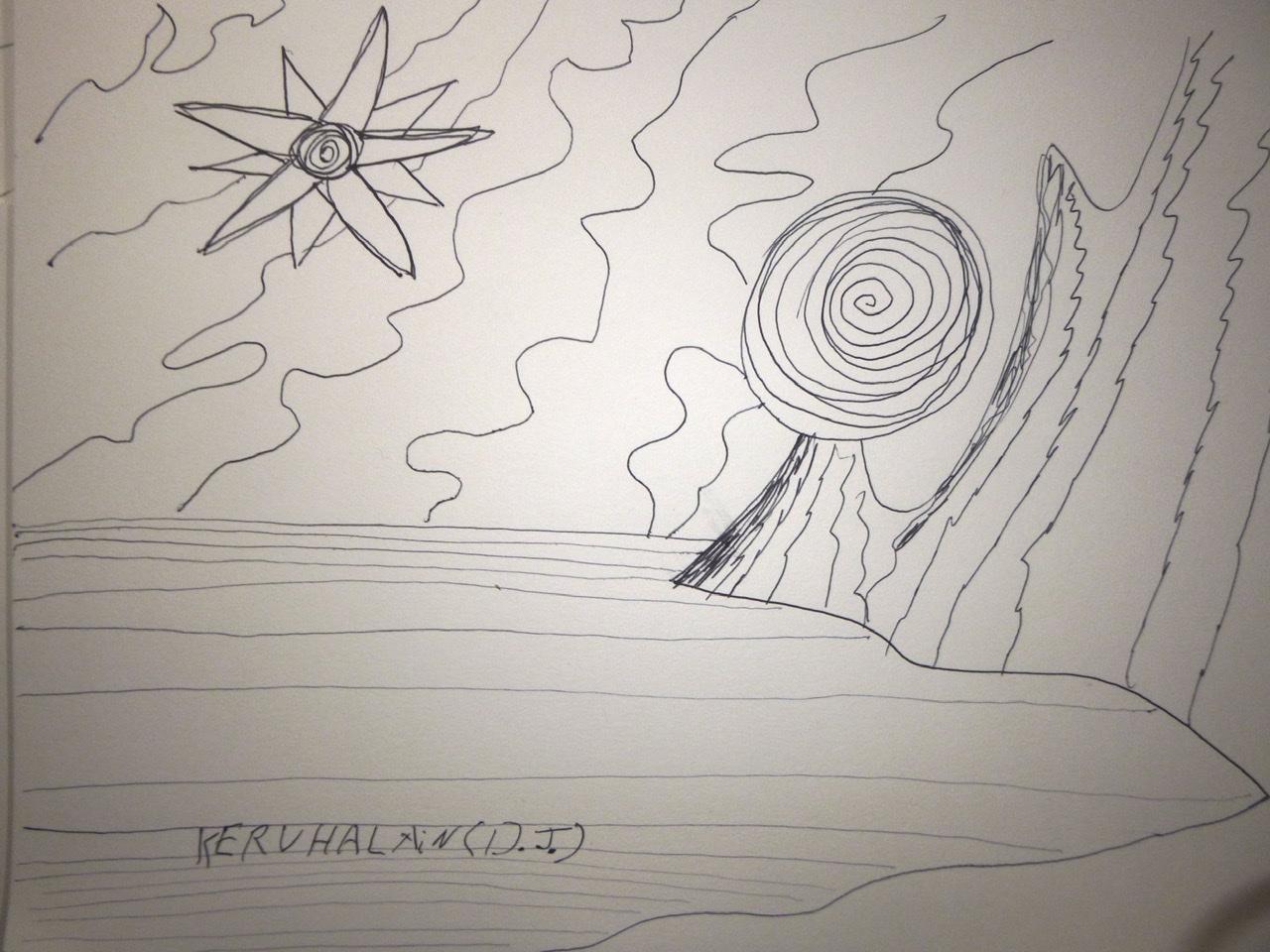 """<span style=""""color: #ff0000;""""><a style=""""color: #ff0000;"""" href=""""mailto:johorse.danielssen@gmail.com?subject=Défi 15 dessins 15 semaines -  Astres devant les nuages"""">Contacter l'artiste</a></span> Daniel Joyal -  Astres devant les nuages - 75$ (transaction directement avec l'artiste) - marqueur sur papier Canson - 9 x 12pouces"""