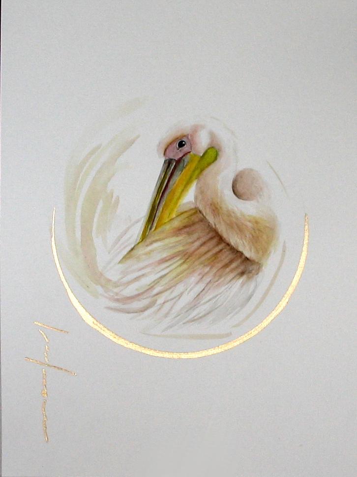 """<span style=""""color: #ff0000;""""><a style=""""color: #ff0000;"""" href=""""mailto:froy1956@gmail.com?subject=Défi 15 dessins 15 semaines -   L'Immaculé""""> Contacter l'artiste</a></span> Marie-France Roy -   L'Immaculé  - 150$  (transaction directement avec l'artiste) - aquarelle, crayon pigment or sur carton aquarelle Fabriano - 12 x 9 po"""
