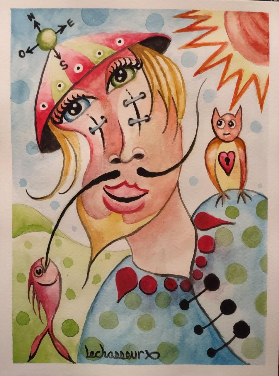 """<span style=""""color: #ff0000;""""><a style=""""color: #ff0000;"""" href=""""mailto:lechasseursteeve@videotron.ca?subject=Défi 15 dessins 15 semaines - Le balafré Dalinien"""">Contacter l'artiste</a></span> Steeve Lechasseur - Le balafré Dalinien - 100$ (transaction directement avec l'artiste) - aquarelle sur papier aquarelle 140 lbs - 12 x 9 po"""