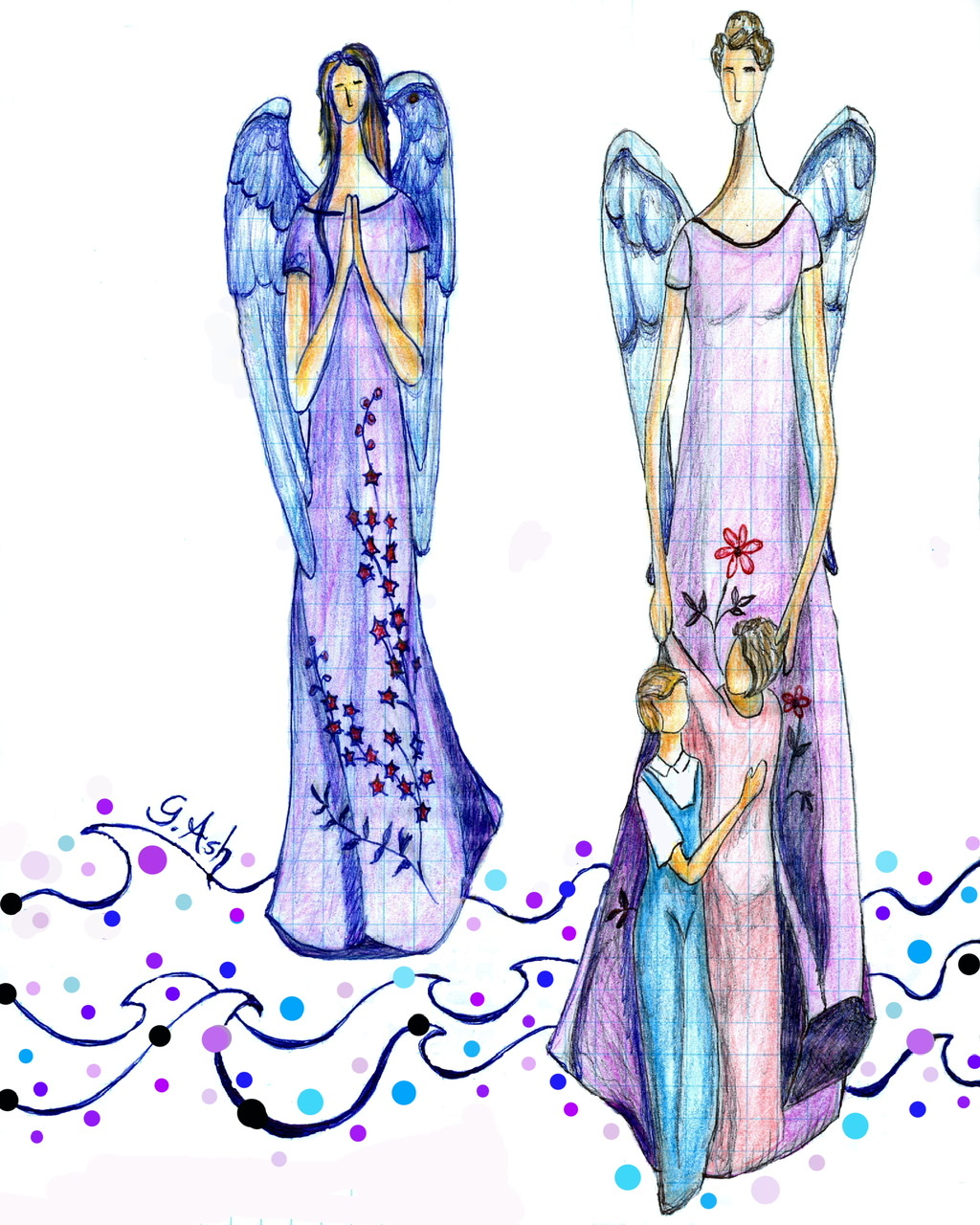 """<span style=""""color: #ff0000;""""><a style=""""color: #ff0000;"""" href=""""mailto:marie.laura@@videotron.ca?subject=Défi 15 dessins 15 semaines - Paix et amour"""">Contacter l'artiste</a></span> Ginette Ash - Paix et amour - 75 $ (transaction directement avec l'artiste) - crayons de couleur et stylo bleu sur papier - 11x8 po"""