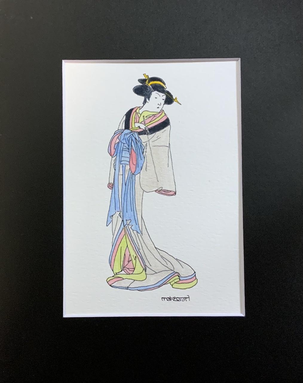 """<span style=""""color: #ff0000;""""><a style=""""color: #ff0000;"""" href=""""mailto:info@arttotalmultimedia.com?subject=Défi 15 dessins 15 semaines -  La Geisha"""">Contacter l'agent de l'artiste</a></span> Mahesvari -  La Geisha - 115$ (transaction directement avec l'agent de l'artiste) - encre, aquarelle, aquarelle métalisée sur papier aquarelle, 8,5 x 5,5 po avec passe-partout noir 10x8 po"""
