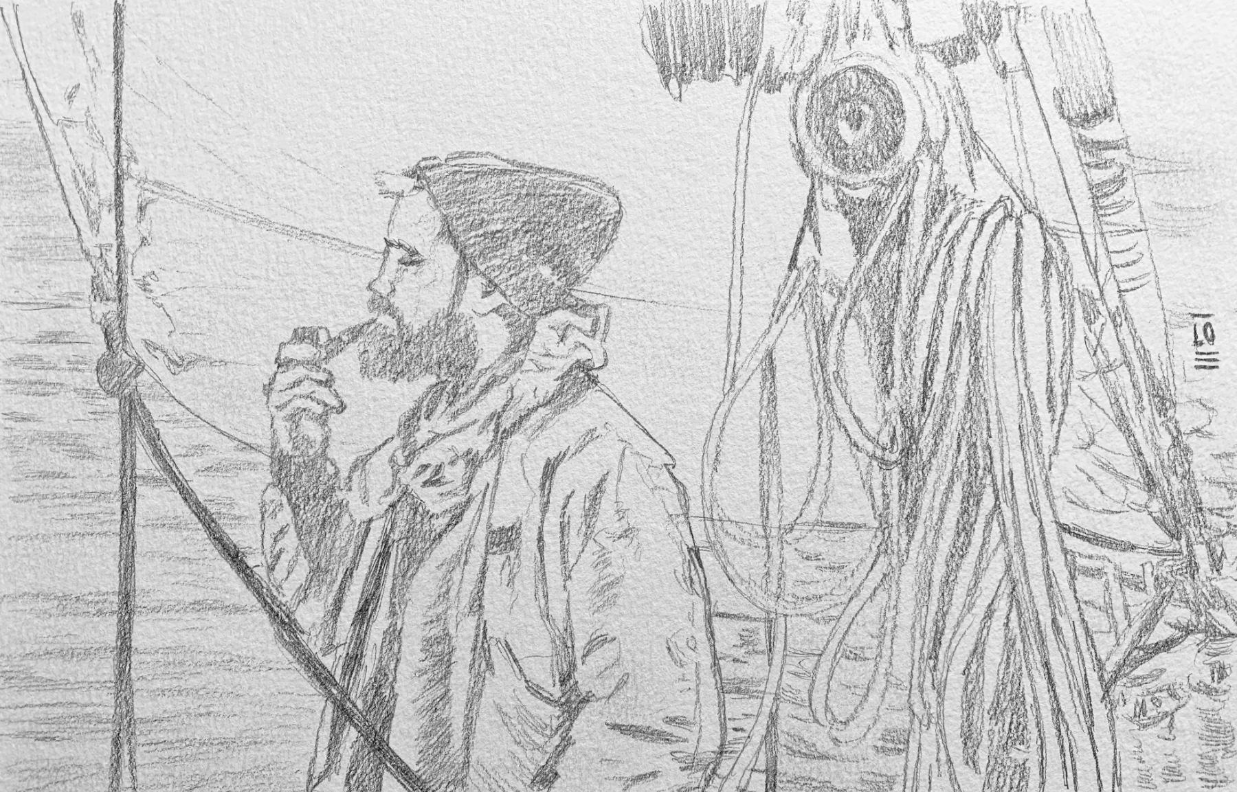 """<span style=""""color: #ff0000;""""><a style=""""color: #ff0000;"""" href=""""mailto:info@loartiste.com?subject=Défi 15 dessins 15 semaines - Tu t'évades...""""> Contacter l'artiste</a></span> Lo - Tu t'évades... - 150$  (transaction directement avec l'artiste) - Crayon graphite sur papier - environ 16 x 23 cm"""