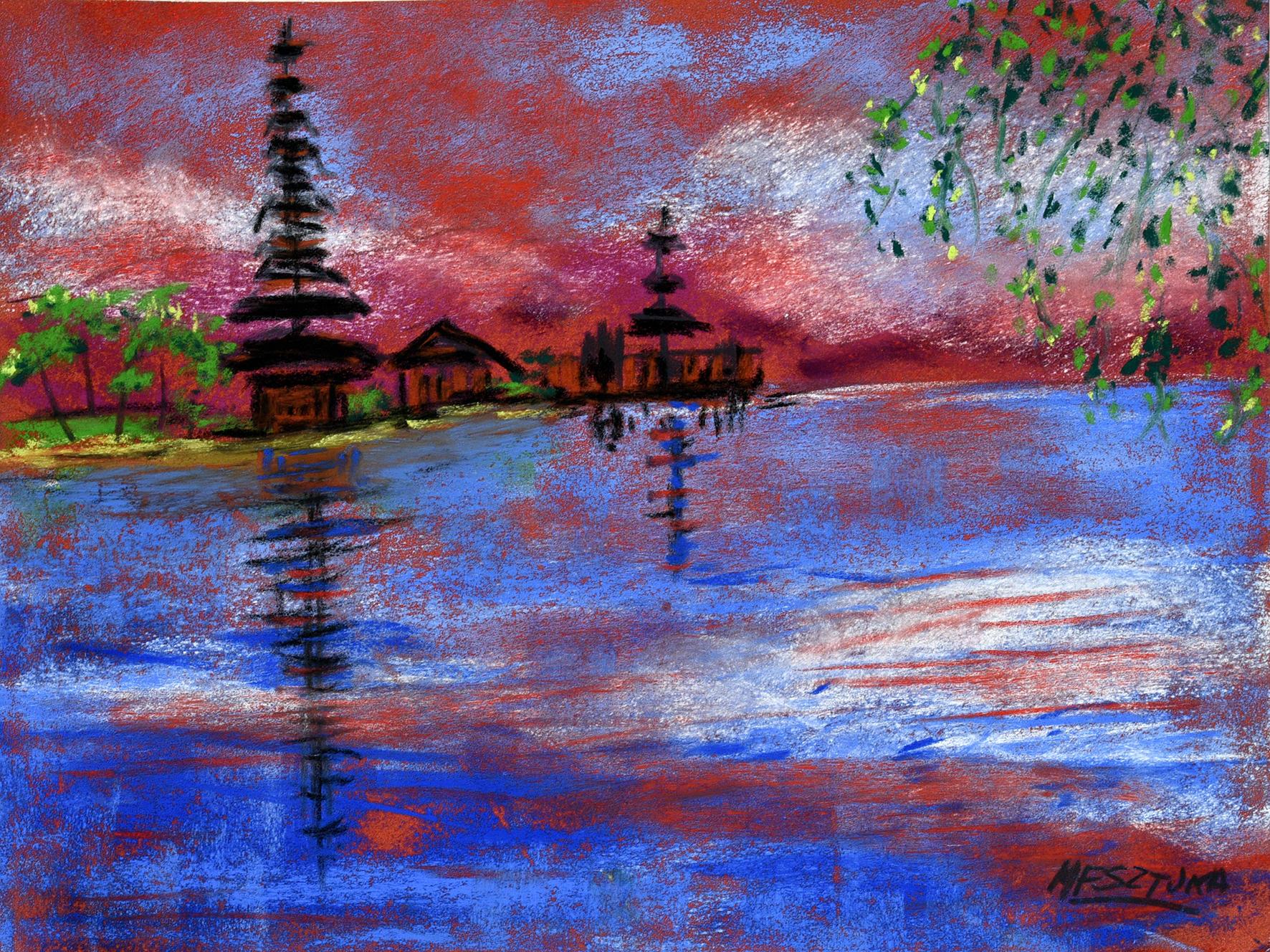 """<span style=""""color: #ff0000;""""><a style=""""color: #ff0000;"""" href=""""mailto:mfsztuka@orange.fr?subject=Défi 15 dessins 15 semaines - Le lac Batur à Bali"""">Contacter l'artiste</a></span> Marie-Françoise Sztuka - Le lac Batur à Bali - 40 euros (transaction directement avec l'artiste) - pastel sec sur pastel card - 25 x 33 cm"""