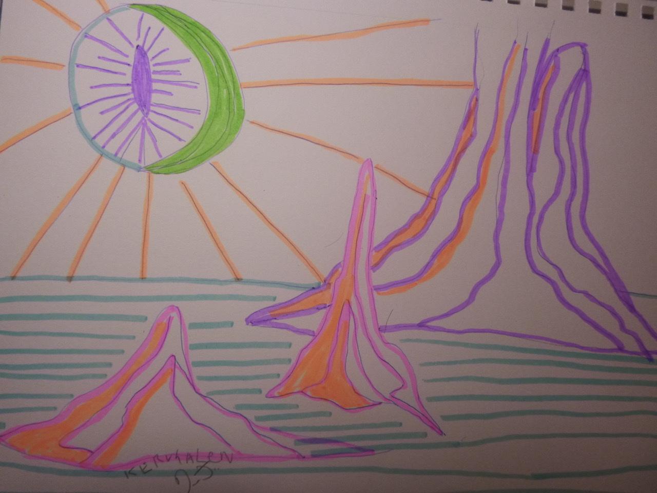 """<span style=""""color: #ff0000;""""><a style=""""color: #ff0000;"""" href=""""mailto:johorse.danielssen@gmail.com?subject=Défi 15 dessins 15 semaines -  Schlangaugen"""">Contacter l'artiste</a></span> Daniel Joyal - Schlangaugen - 75$ (transaction directement avec l'artiste) - stylo bille et marqueur fluo sur papier Canson, 9x 12po"""