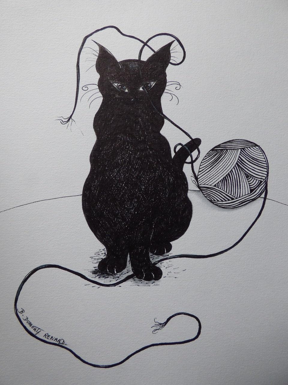 """<span style=""""color: #ff0000;""""><a style=""""color: #ff0000;"""" href=""""mailto:bdumontrenard@yahoo.com?subject=Défi 15 dessins 15 semaines -  Le chat et la pelote noire""""> Contacter l'artiste</a></span> B. Dumont Renard -   Le chat et la pelote noire - 80€  (transaction directement avec l'artiste) - feutre/marqueur,  24 x 32 cm"""