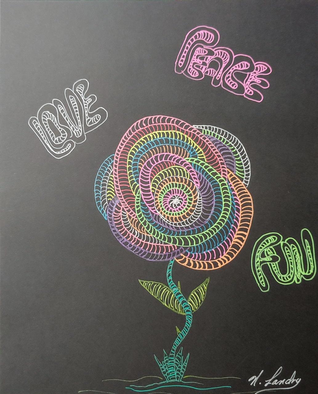 """<span style=""""color: #ff0000;""""><a style=""""color: #ff0000;"""" href=""""mailto:nathalielandry7@gmail.com?subject=Défi 15 dessins 15 semaines - Fleur de joie""""> Contacter l'artiste</a></span> Nathalie Landry - Fleur de joie - 35$  (transaction directement avec l'artiste) - stylo encre-gel sur papier noir Strathmore, 10 x 8 po, encadré"""