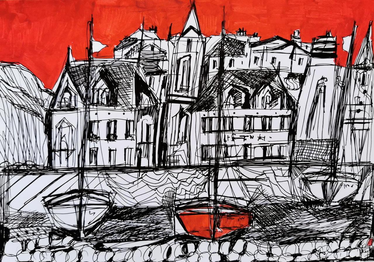 """<span style=""""color: #ff0000;""""><a style=""""color: #ff0000;"""" href=""""mailto:muriel.cayet@gmail.com?subject=Défi 15 dessins 15 semaines -   Le ciel est rouge""""> Contacter l'artiste</a></span> Muriel Cayet -  Le ciel est rouge - 50€  (transaction directement avec l'artiste) - roller noir et marqueur rouge sur papier blanc A4, présenté plastifié"""