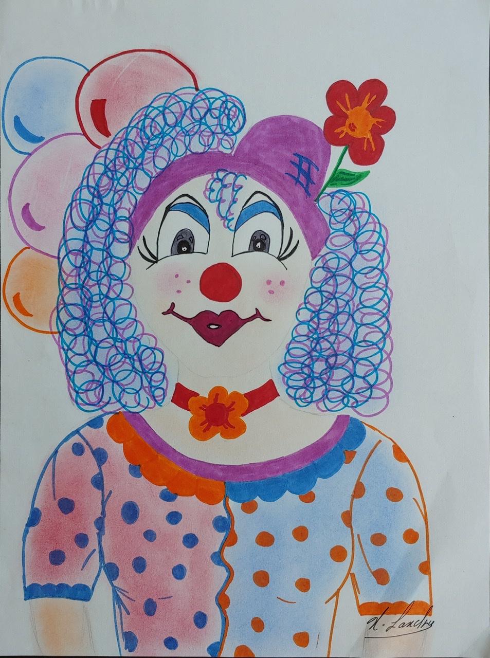 """<span style=""""color: #ff0000;""""><a style=""""color: #ff0000;"""" href=""""mailto:nathalielandry7@gmail.com?subject=Défi 15 dessins 15 semaines - Clownesse""""> Contacter l'artiste</a></span> Nathalie Landry - Clownesse - 50$  (transaction directement avec l'artiste) -Feutre et crayon couleur sur papier Strathmore Sketch 60lb, 12 x 9 po, encadré"""