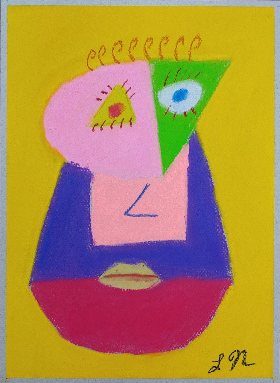 """<span style=""""color: #ff0000;""""><a style=""""color: #ff0000;"""" href=""""mailto:lucnadon7@gmail.com?subject=Défi 15 dessins 15 semaines - Drôle de face""""> Contacter l'artiste</a></span> Luc Nadon -  Drôle de face - 35$  (transaction directement avec l'artiste), pastel sur papier Canson mi-teintes de 160g, 12x9 po encadré"""