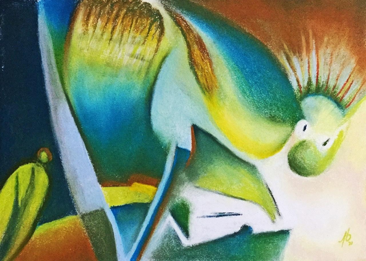"""<span style=""""color: #ff0000;""""><a style=""""color: #ff0000;"""" href=""""mailto:pbureau@hotmail.com?subject=Défi 15 dessins 15 semaines -  Surprise!"""">Contacter l'artiste</a></span> Pierre Bureau - Surprise! - 150 $ (transaction directement avec l'artiste) - pastel sec sur papier-coton BFK Rives - 27 x 37 cm"""