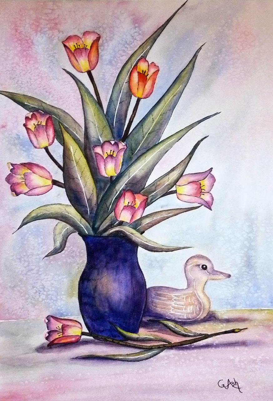 """<span style=""""color: #ff0000;""""><a style=""""color: #ff0000;"""" href=""""mailto:marie.laura@@videotron.ca?subject=Défi 15 dessins 15 semaines -  Tulipes et canard"""">Contacter l'artiste</a></span> Ginette Ash -  Tulipes et canard - 250 $ (transaction directement avec l'artiste) - Aquarelle et encre de Chine (pointillisme) sur papier Arches, 18 x 12 pouces"""