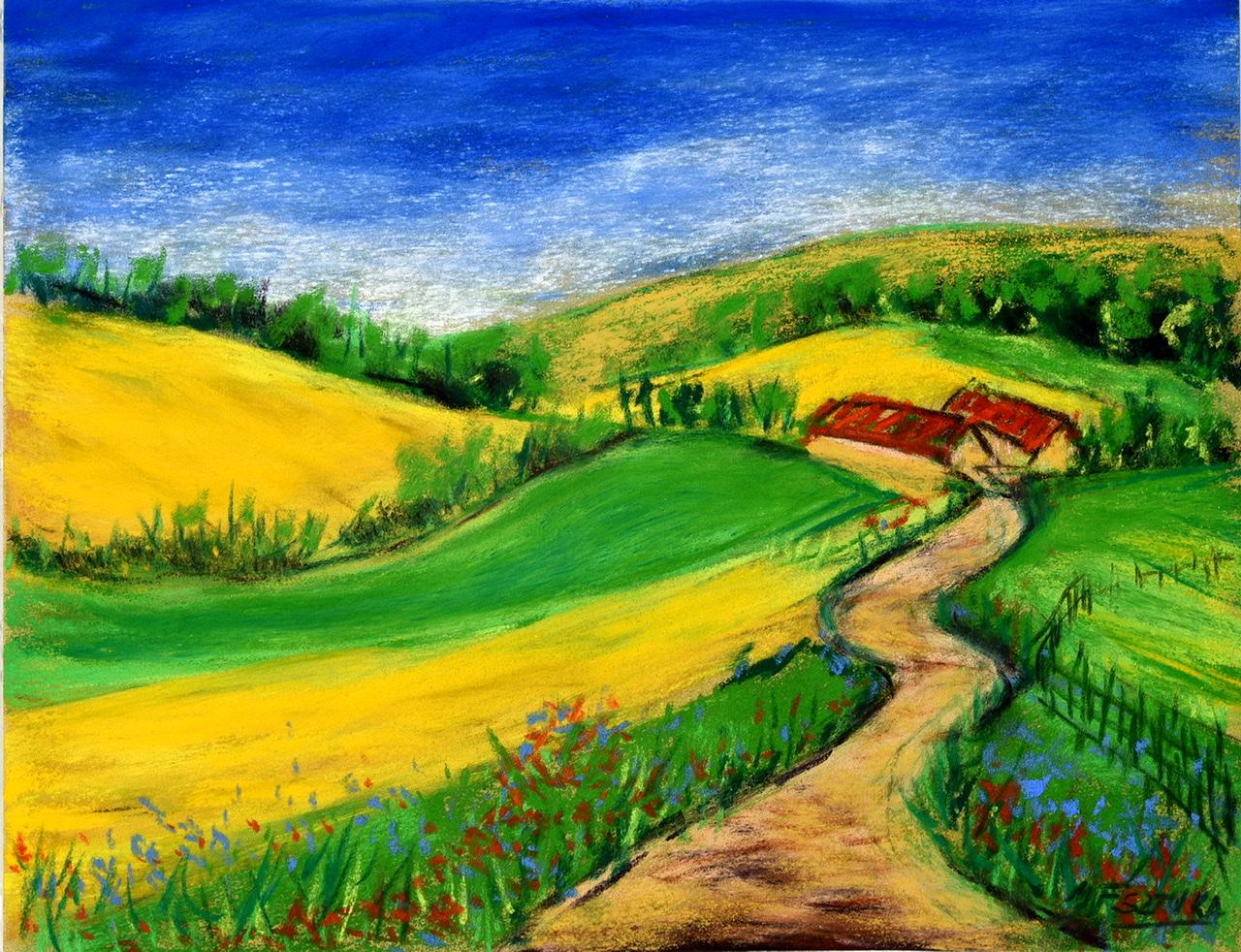 """<span style=""""color: #ff0000;""""><a style=""""color: #ff0000;"""" href=""""mailto:mfsztuka@orange.fr?subject=Défi 15 dessins 15 semaines - Champ de colza"""">Contacter l'artiste</a></span> Marie-Françoise Sztuka - Champ de colza - 40 euros (transaction directement avec l'artiste) - pastel sec sur pastel card 24 x 32 cm"""