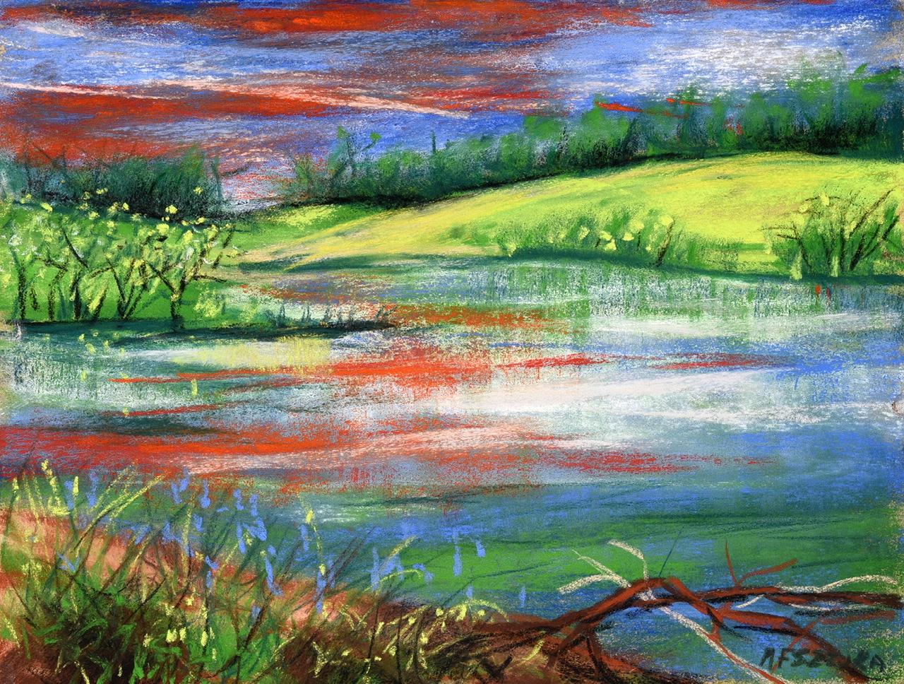 """<span style=""""color: #ff0000;""""><a style=""""color: #ff0000;"""" href=""""mailto:mfsztuka@orange.fr?subject=Défi 15 dessins 15 semaines -  Etang de Blanchamp"""">Contacter l'artiste</a></span> Marie-Françoise Sztuka -  Etang de Blanchamp - 40 euros (transaction directement avec l'artiste) - pastel sec sur pastel card 24 x 33 cm"""