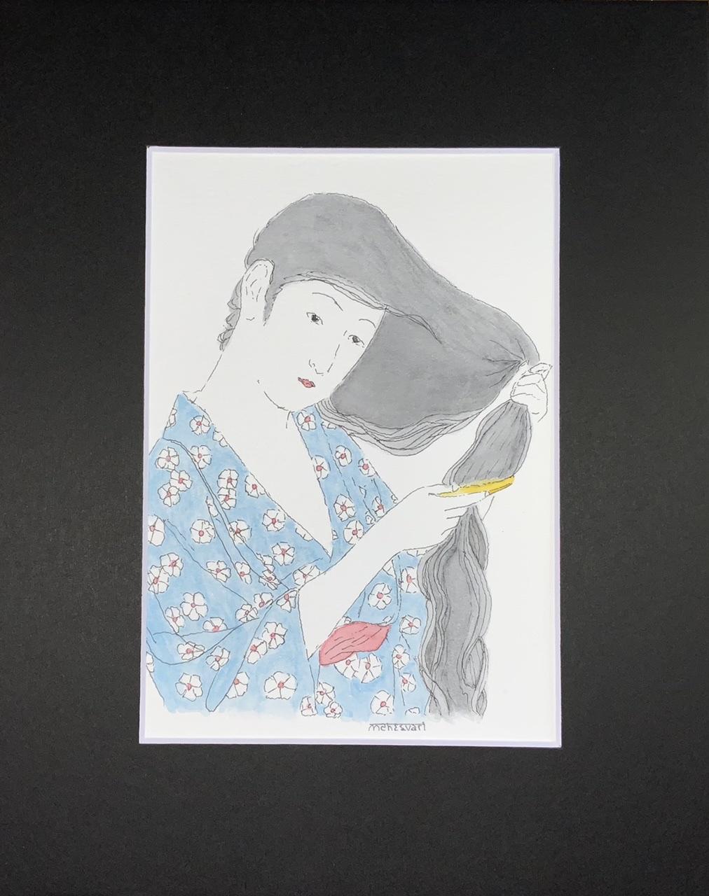 """<span style=""""color: #ff0000;""""><a style=""""color: #ff0000;"""" href=""""mailto:info@arttotalmultimedia.com?subject=Défi 15 dessins 15 semaines -   Nostalgie aux fleurs blanches"""">Contacter l'agent de l'artiste</a></span> Mahesvari -   Nostalgie aux fleurs blanches - 115$ (transaction directement avec l'agent de l'artiste) - encre et aquarelle sur papier aquarelle, 8,5 x 5,5 po avec passe-partout noir 10x8 po"""