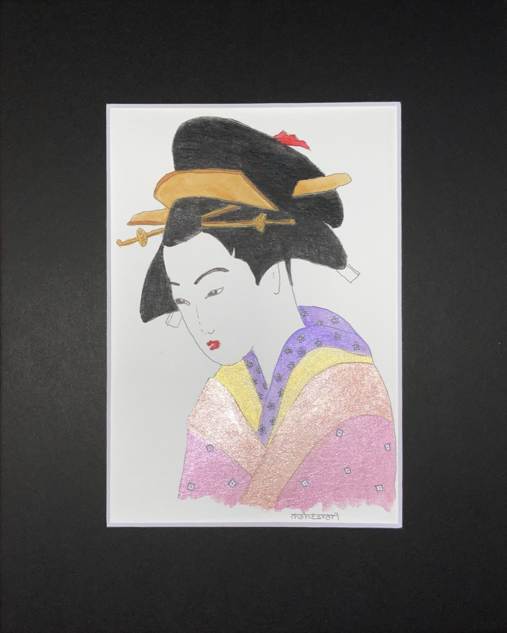 """<span style=""""color: #ff0000;""""><a style=""""color: #ff0000;"""" href=""""mailto:info@arttotalmultimedia.com?subject=Défi 15 dessins 15 semaines -  La Rose du Japon"""">Contacter l'agent de l'artiste</a></span> Mahesvari -  La Rose du Japon - 115$ (transaction directement avec l'agent de l'artiste) - encre, aquarelle et aquarelle métalisée sur papier aquarelle, 8,5 x 5,5 po avec passe-partout noir 10x8 po"""
