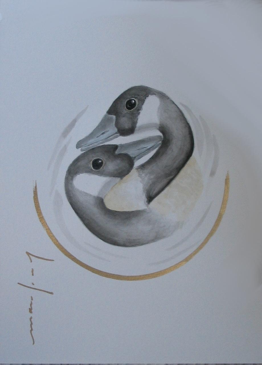 """<span style=""""color: #ff0000;""""><a style=""""color: #ff0000;"""" href=""""mailto:froy1956@gmail.com?subject=Défi 15 dessins 15 semaines -    Amour éternel""""> Contacter l'artiste</a></span> Marie-France Roy -    Amour éternel  - 150$  (transaction directement avec l'artiste) - aquarelle, crayon pigment or sur carton aquarelle Fabriano - 12 x 9 po"""