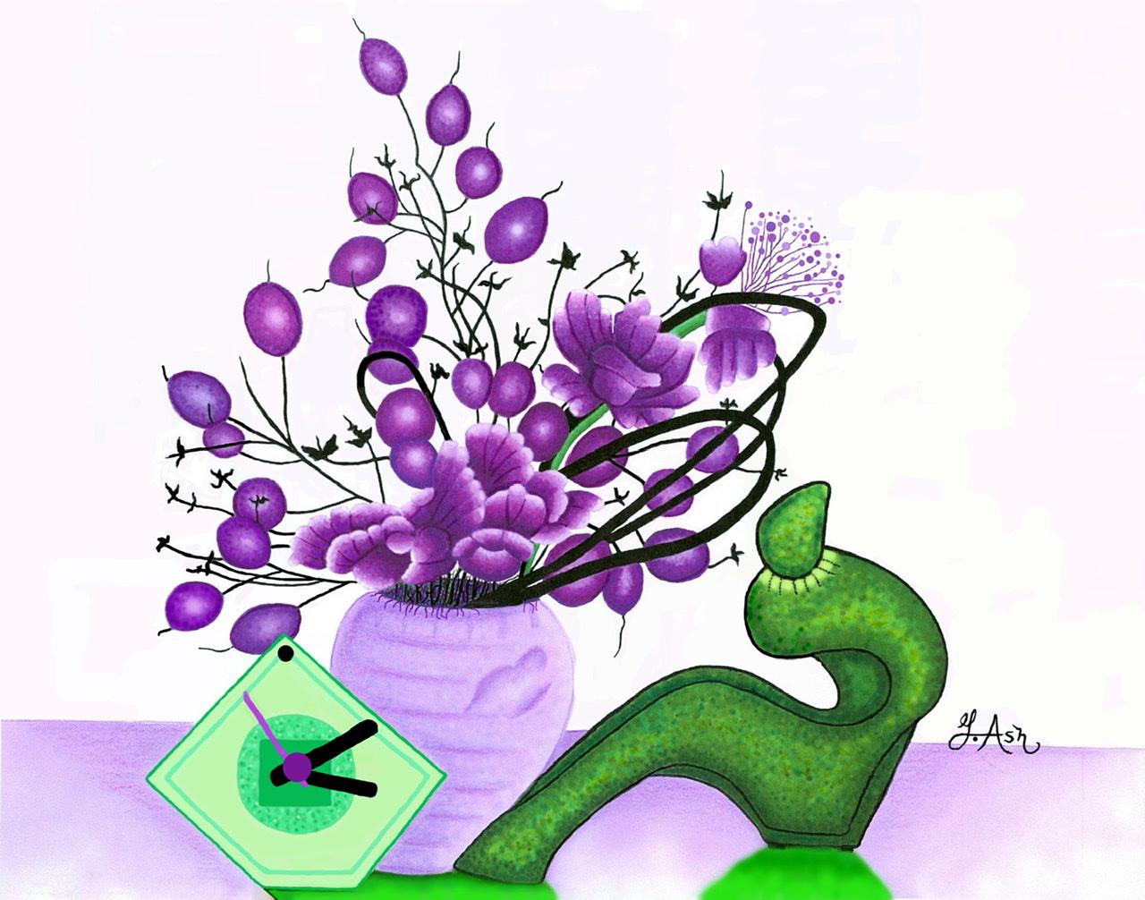 """<span style=""""color: #ff0000;""""><a style=""""color: #ff0000;"""" href=""""mailto:marie.laura@@videotron.ca?subject=Défi 15 dessins 15 semaines -  Nature morte au vase de fleurs"""">Contacter l'artiste</a></span> Ginette Ash -  Nature morte au vase de fleurs - 150 $ (transaction directement avec l'artiste) - Crayons de couleurs et feutres de couleurs Faber Castel (encre de Chine pigmentée) sur papier à dessin  11 x 14 pouces (non encadré et frais de transport inclus)"""