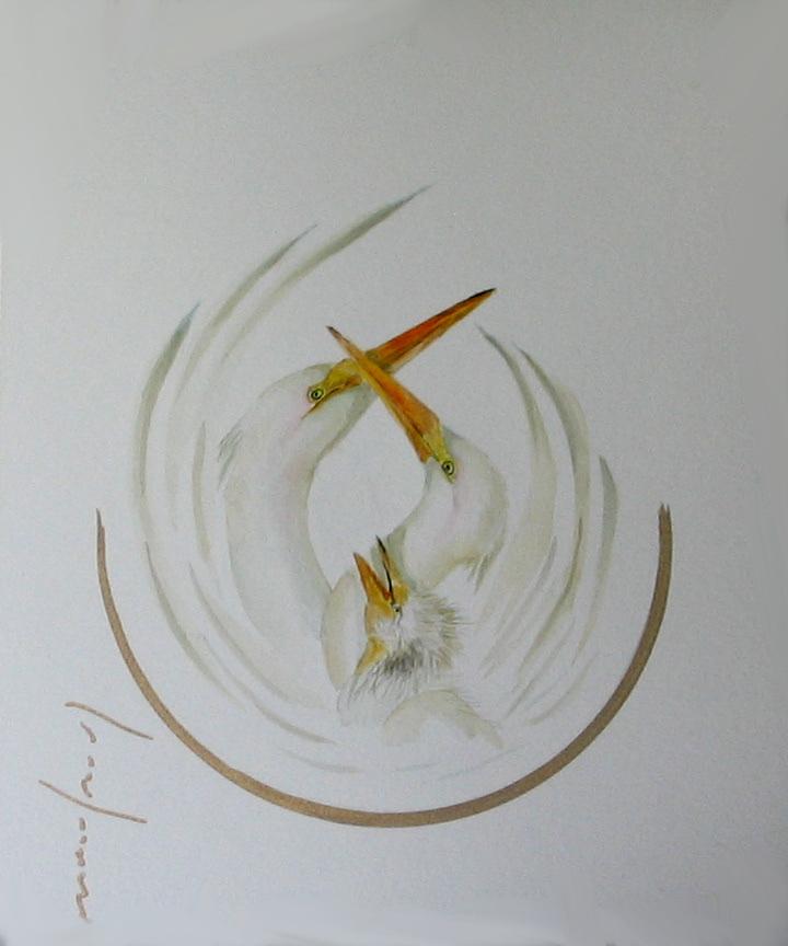 """<span style=""""color: #ff0000;""""><a style=""""color: #ff0000;"""" href=""""mailto:froy1956@gmail.com?subject=Défi 15 dessins 15 semaines -  1 + 1 = 3, c'est ça l'amour""""> Contacter l'artiste</a></span> Marie-France Roy -   1 + 1 = 3, c'est ça l'amour - 150$  (transaction directement avec l'artiste) - aquarelle, crayon pigment or sur carton aquarelle Fabriano - 12 x 9 po"""