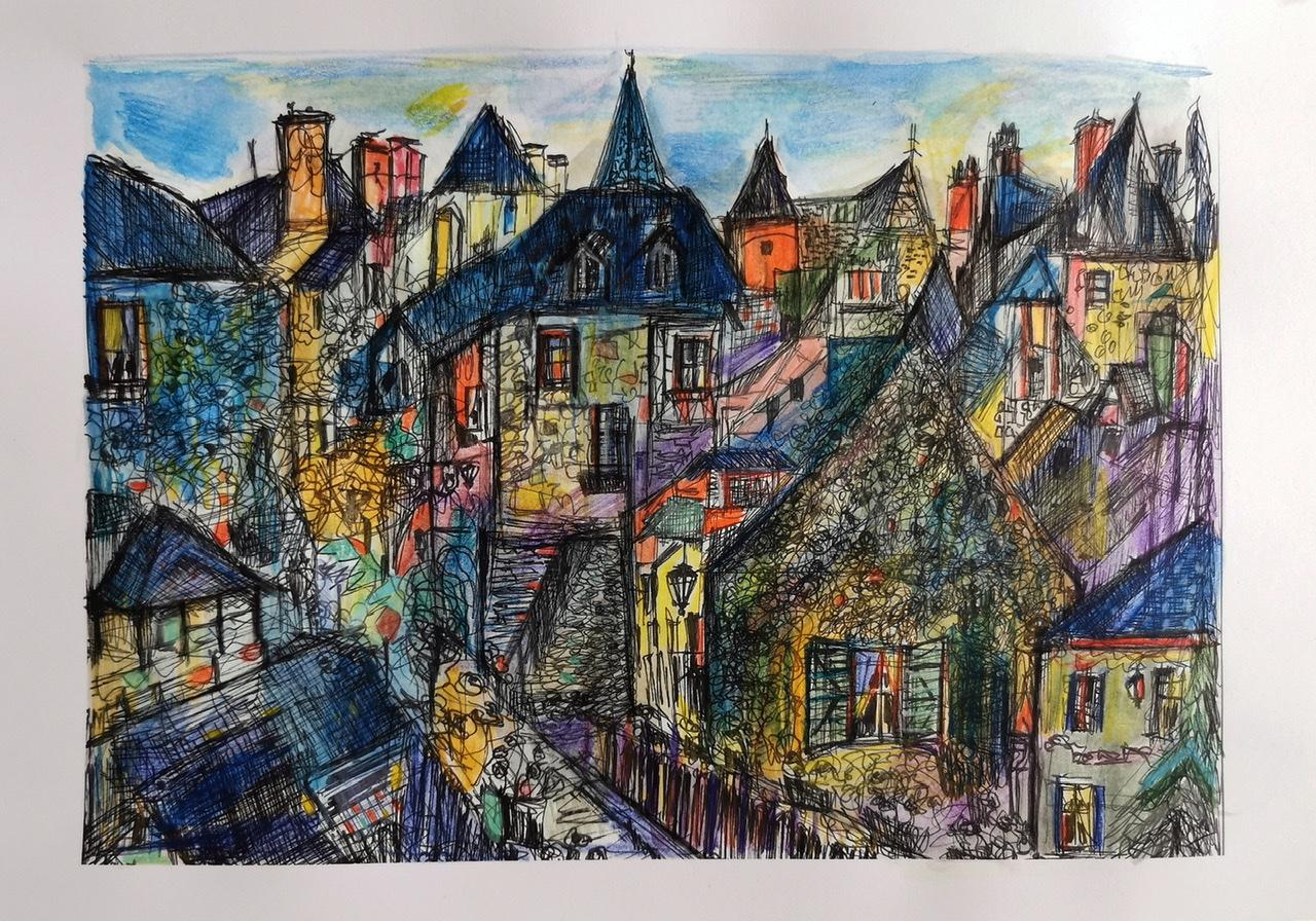 """<span style=""""color: #ff0000;""""><a style=""""color: #ff0000;"""" href=""""mailto:muriel.cayet@gmail.com?subject=Défi 15 dessins 15 semaines -   Le Village""""> Contacter l'artiste</a></span> Muriel Cayet -  Le Village - 50€  (transaction directement avec l'artiste) - Feutre noir fin et crayon de couleur sur papier A4. Présenté plastifié"""