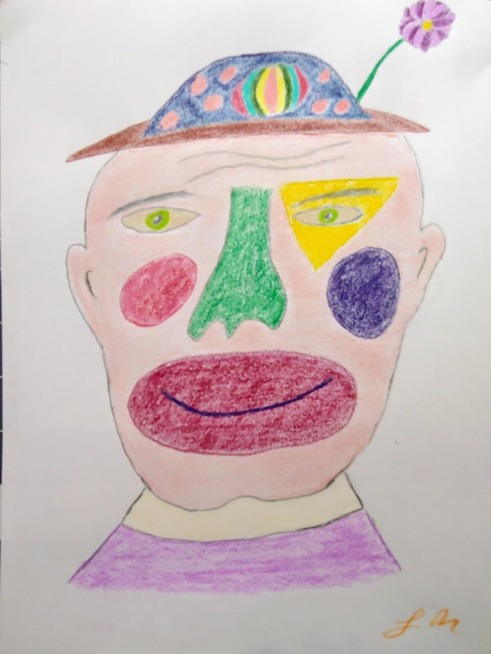 """<span style=""""color: #ff0000;""""><a style=""""color: #ff0000;"""" href=""""mailto:lucnadon7@gmail.com?subject=Défi 15 dessins 15 semaines -  Face de clown""""> Contacter l'artiste</a></span> Luc Nadon -  Face de clown - 15$  (transaction directement avec l'artiste), crayon sur papier Strathmore sketch 90g, 12 x 9 po encadré"""