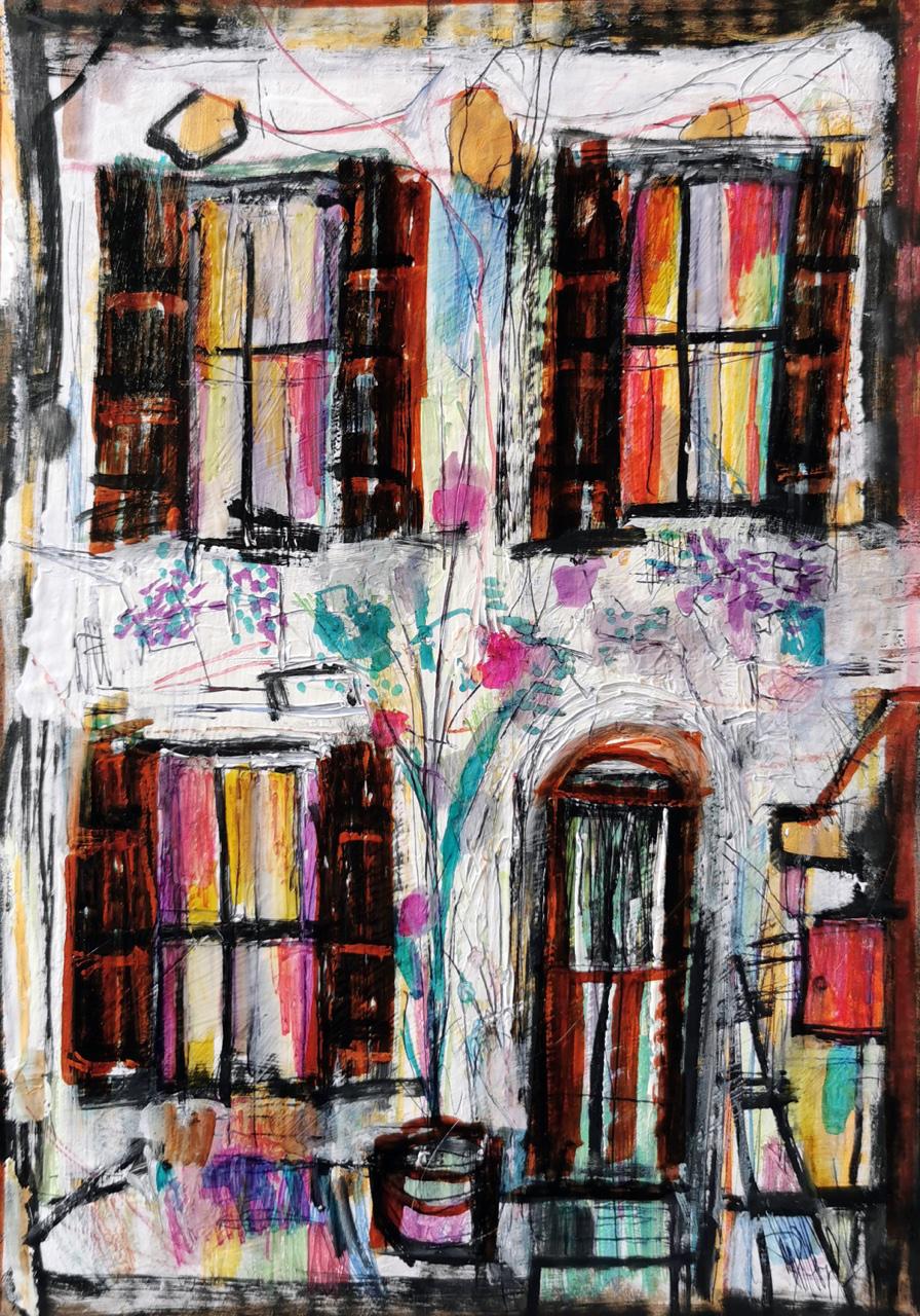 """<span style=""""color: #ff0000;""""><a style=""""color: #ff0000;"""" href=""""mailto:muriel.cayet@gmail.com?subject=Défi 15 dessins 15 semaines -  Rue des Granges""""> Contacter l'artiste</a></span> Muriel Cayet -  Rue des Granges - 50€  (transaction directement avec l'artiste) - Marqueur à l'alcool sur carton d'emballage, rehauts de gouache blanche, sur papier A4"""