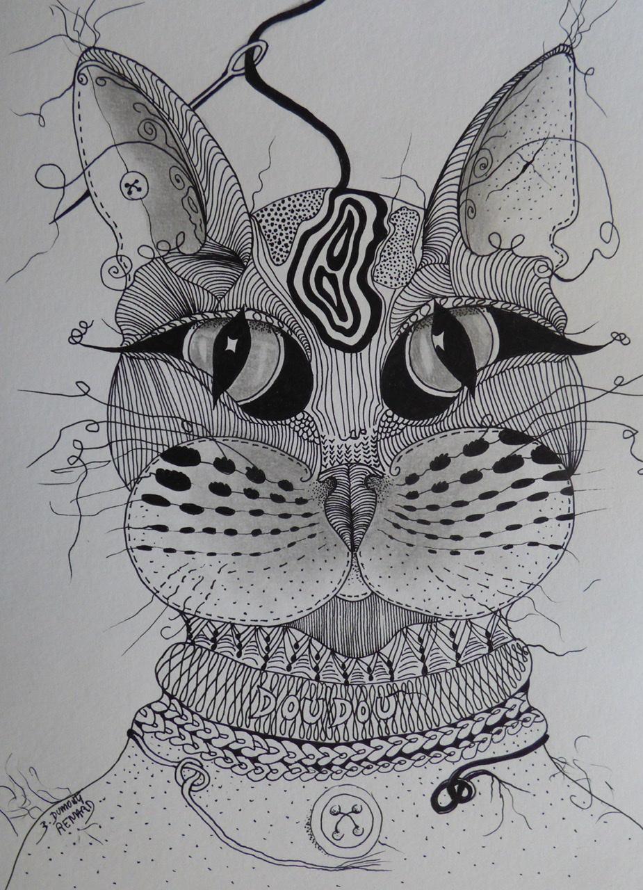 """<span style=""""color: #ff0000;""""><a style=""""color: #ff0000;"""" href=""""mailto:bdumontrenard@yahoo.com?subject=Défi 15 dessins 15 semaines - DOUDOU en laine et tissu""""> Contacter l'artiste</a></span> B. Dumont Renard -  DOUDOU en laine et tissu - 80€  (transaction directement avec l'artiste) - encre et graphite sur papier,  32x24 cm"""