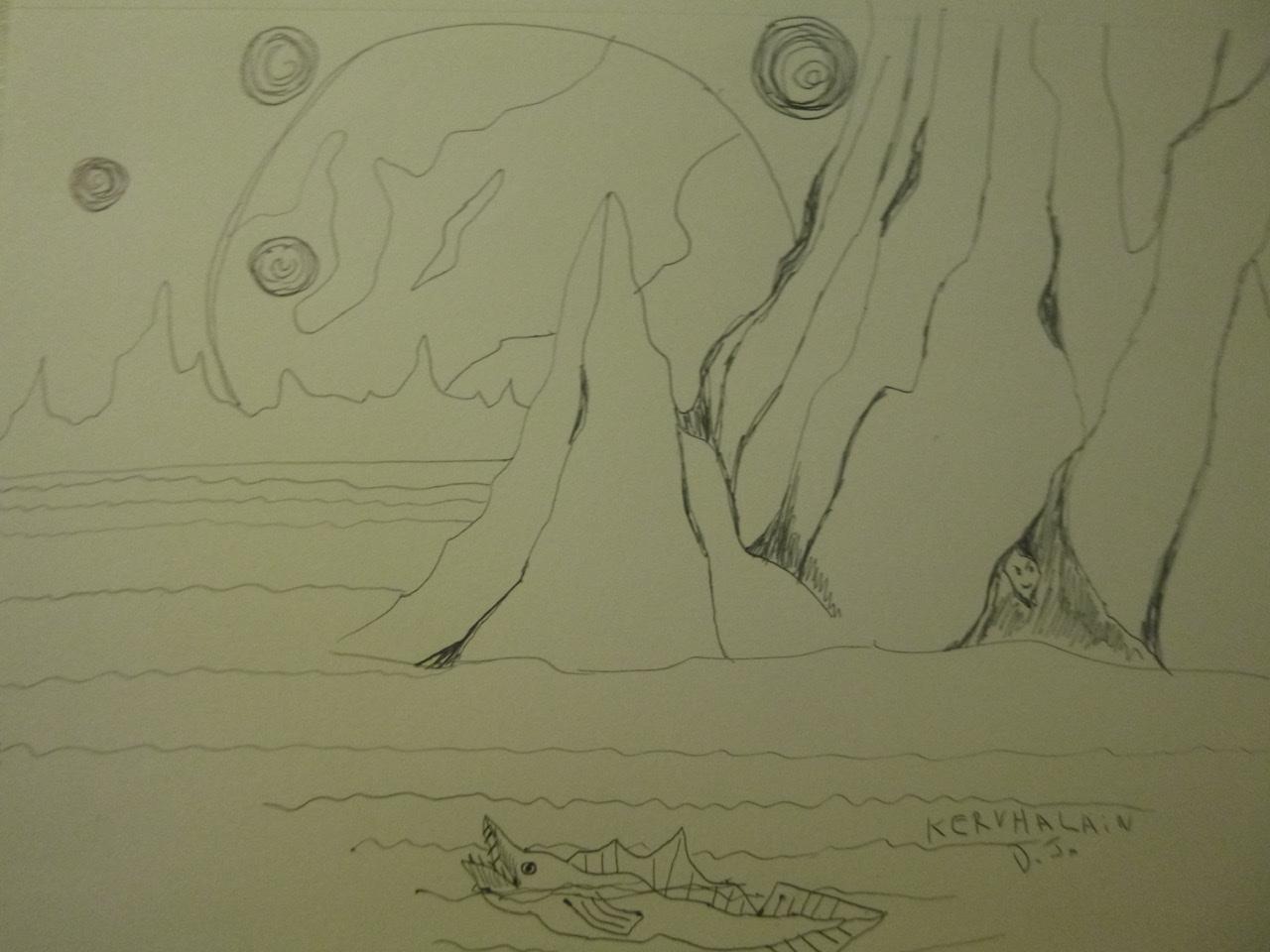 """<span style=""""color: #ff0000;""""><a style=""""color: #ff0000;"""" href=""""mailto:johorse.danielssen@gmail.com?subject=Défi 15 dessins 15 semaines -  La cachette dans la montagne"""">Contacter l'artiste</a></span> Daniel Joyal - La cachette dans la montagne - 75$ (transaction directement avec l'artiste) - stylo bille sur papier Canson, 9x 12po"""